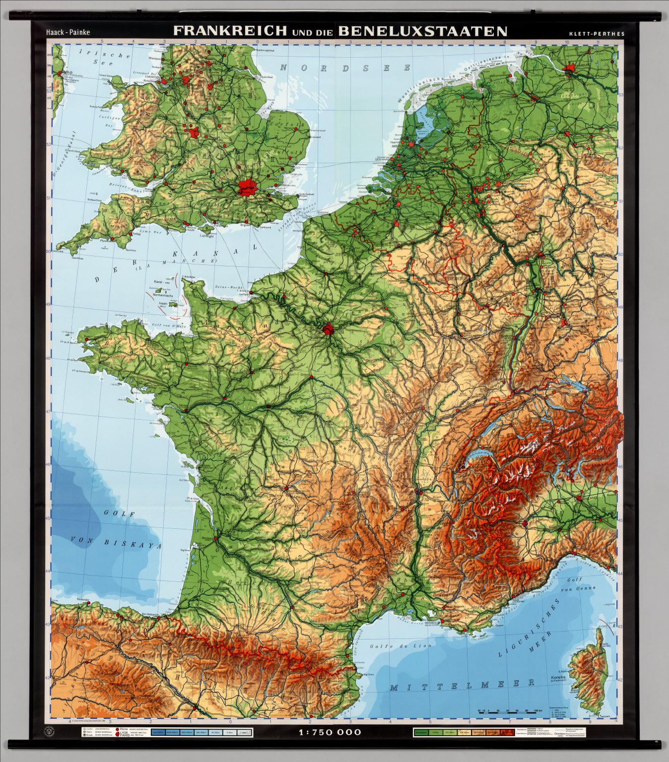 FranceBenelux Countries Physical David Rumsey Historical Map