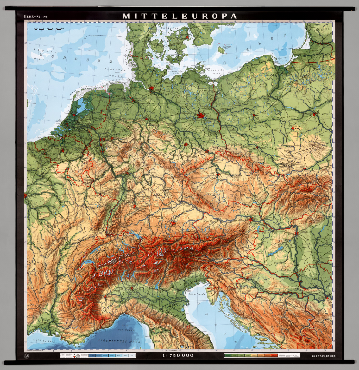 Central Europe -- Physical - David Rumsey Historical Map Collection