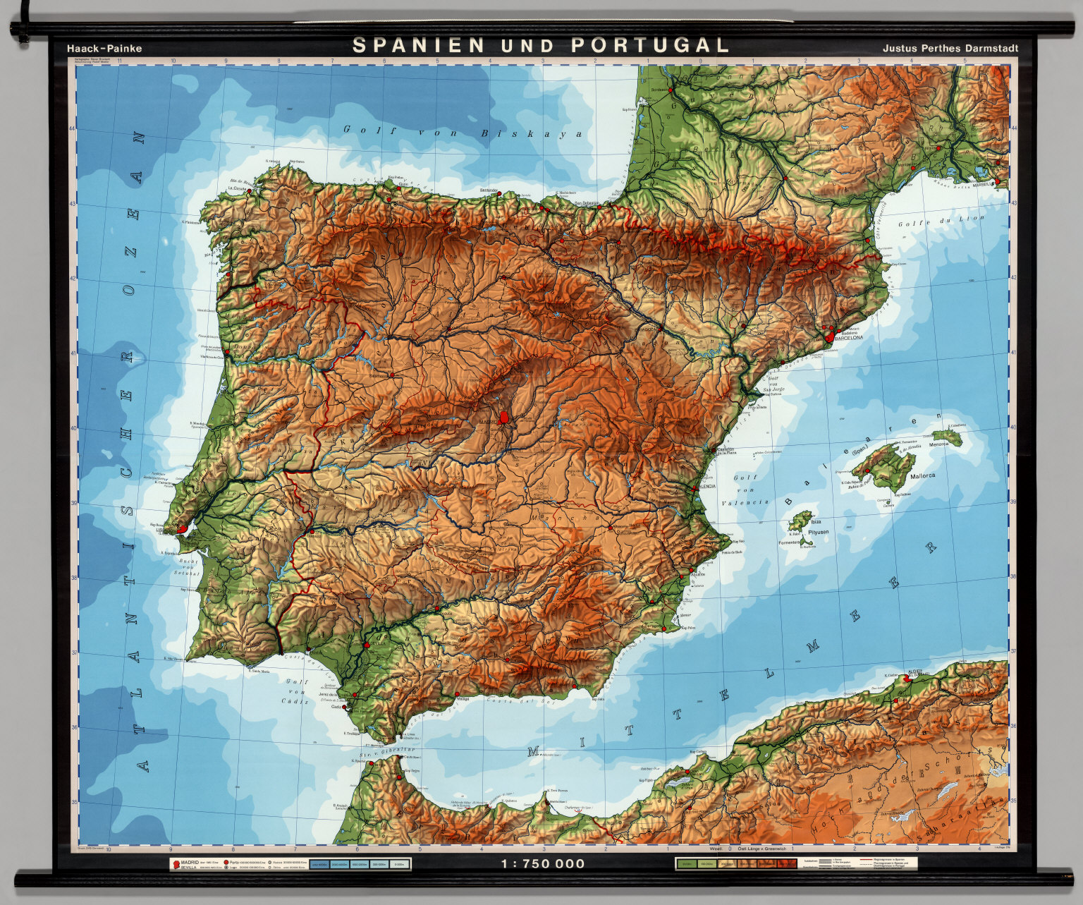 Spain & Portugal -- Physical-Political - David Rumsey