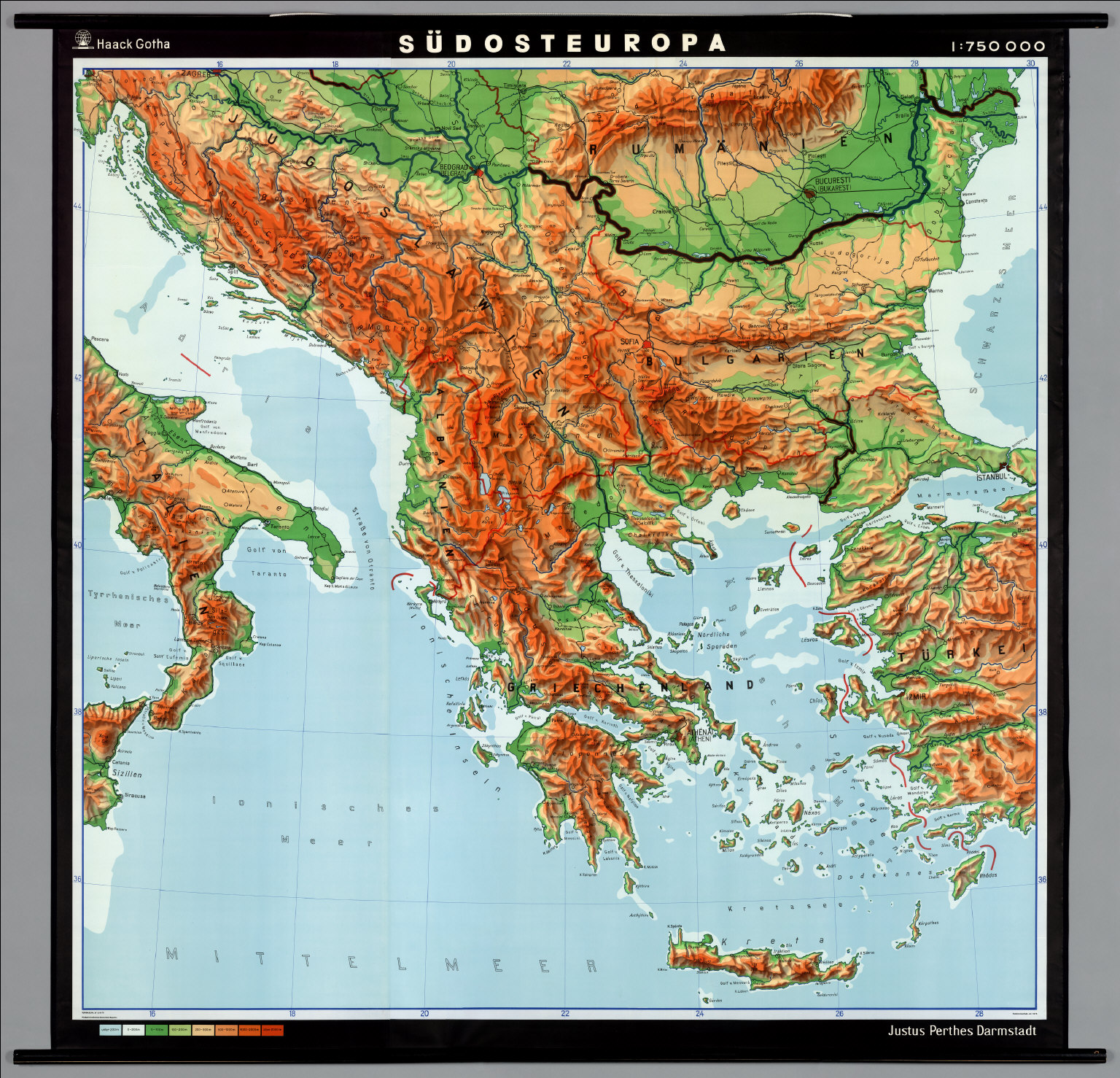 map of southeast europe Southeast Europe    Physical Political   David Rumsey Historical