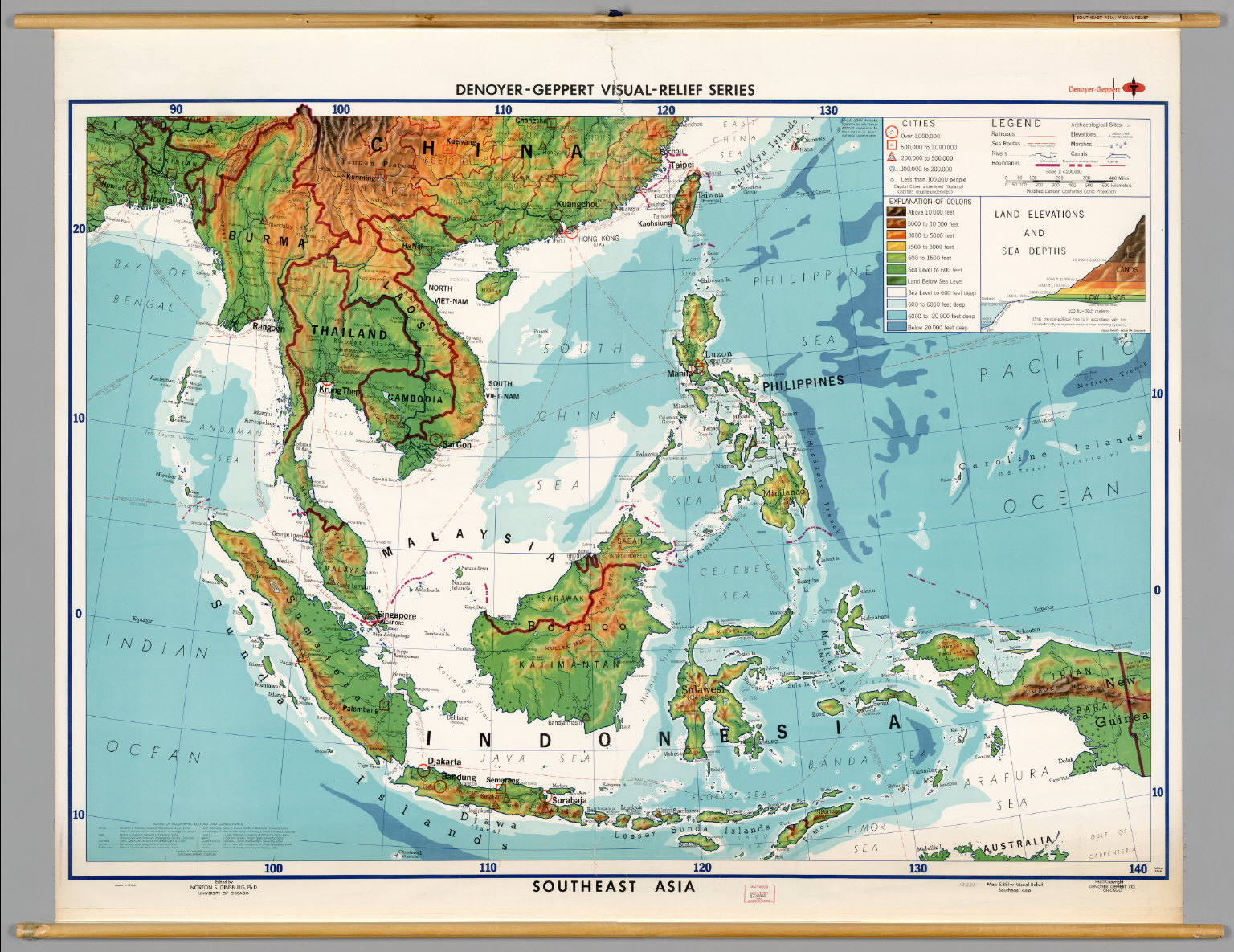 Topographic Map Asia.Southeast Asia Physical Political David Rumsey Historical Map