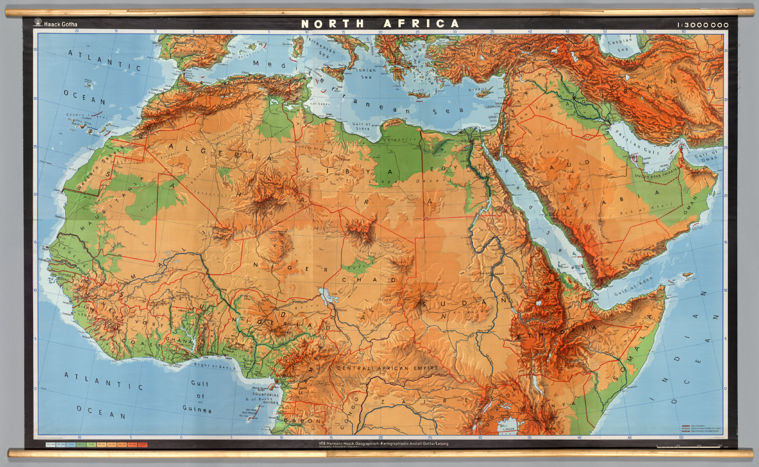 north africa map physical
