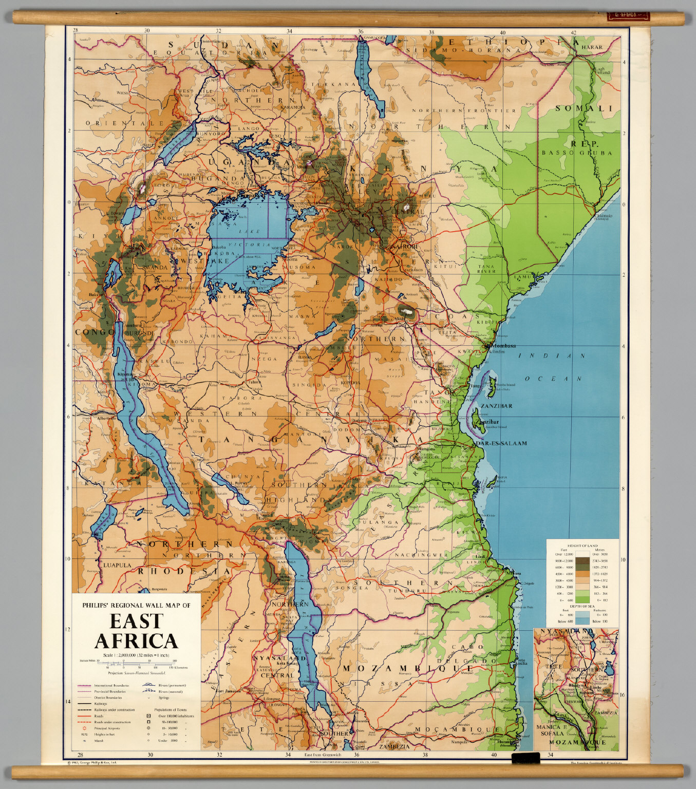East Africa PhysicalPolitical David Rumsey Historical Map - Map of eastern africa