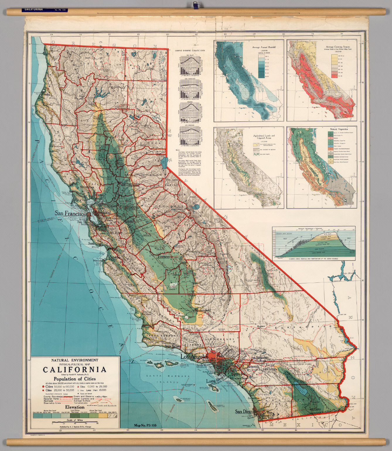 Physical Map Of California California    Physical Political   David Rumsey Historical Map  Physical Map Of California