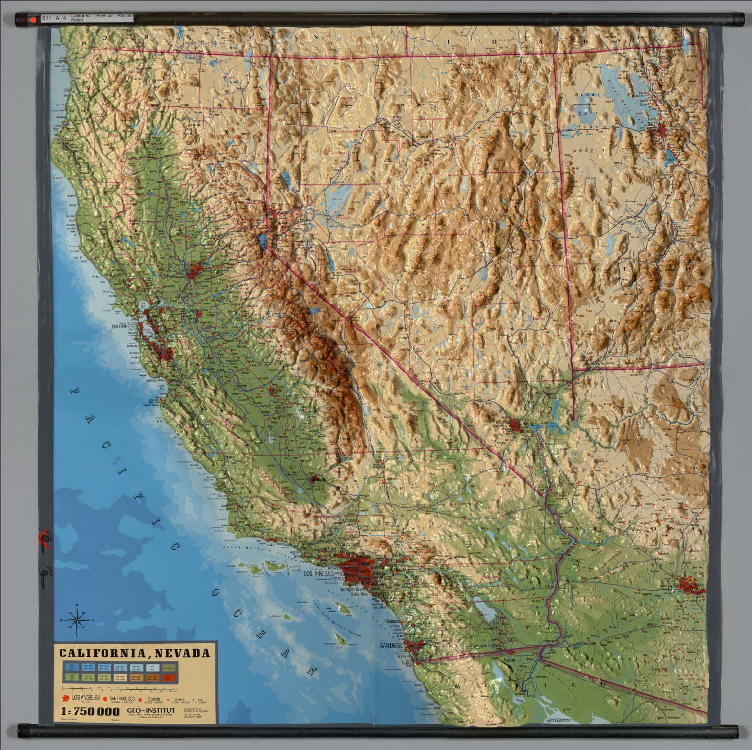 California -- Physical (Raised Relief) - David Rumsey Historical Map on