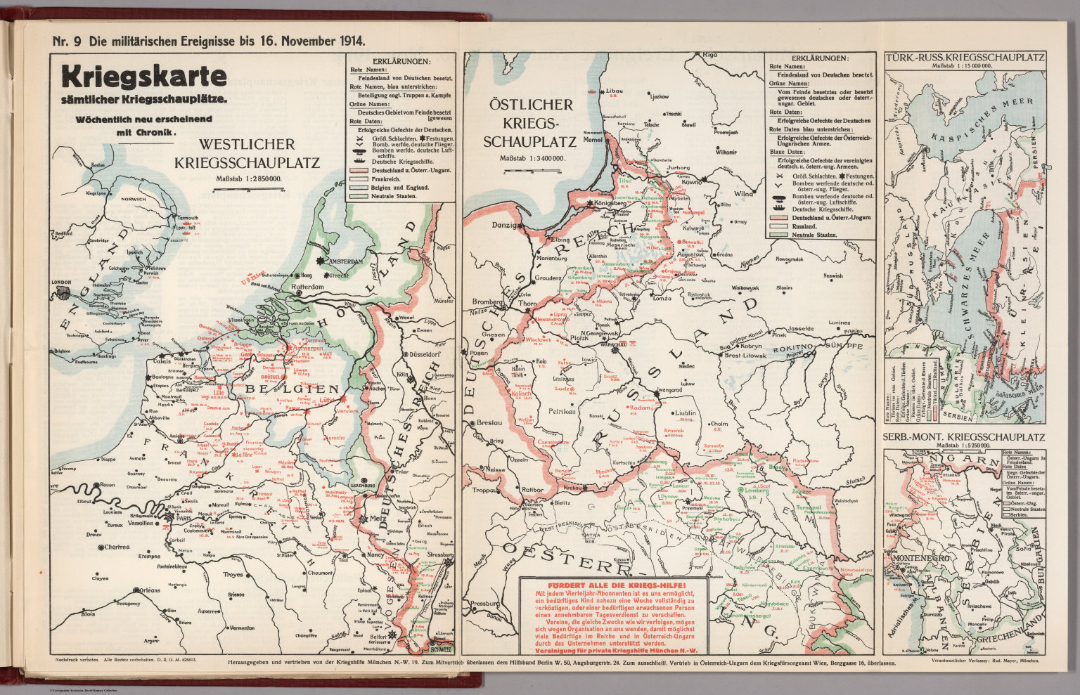 Map Of Germany 1914.World War I Map German Nr 9 Military Events To November 16