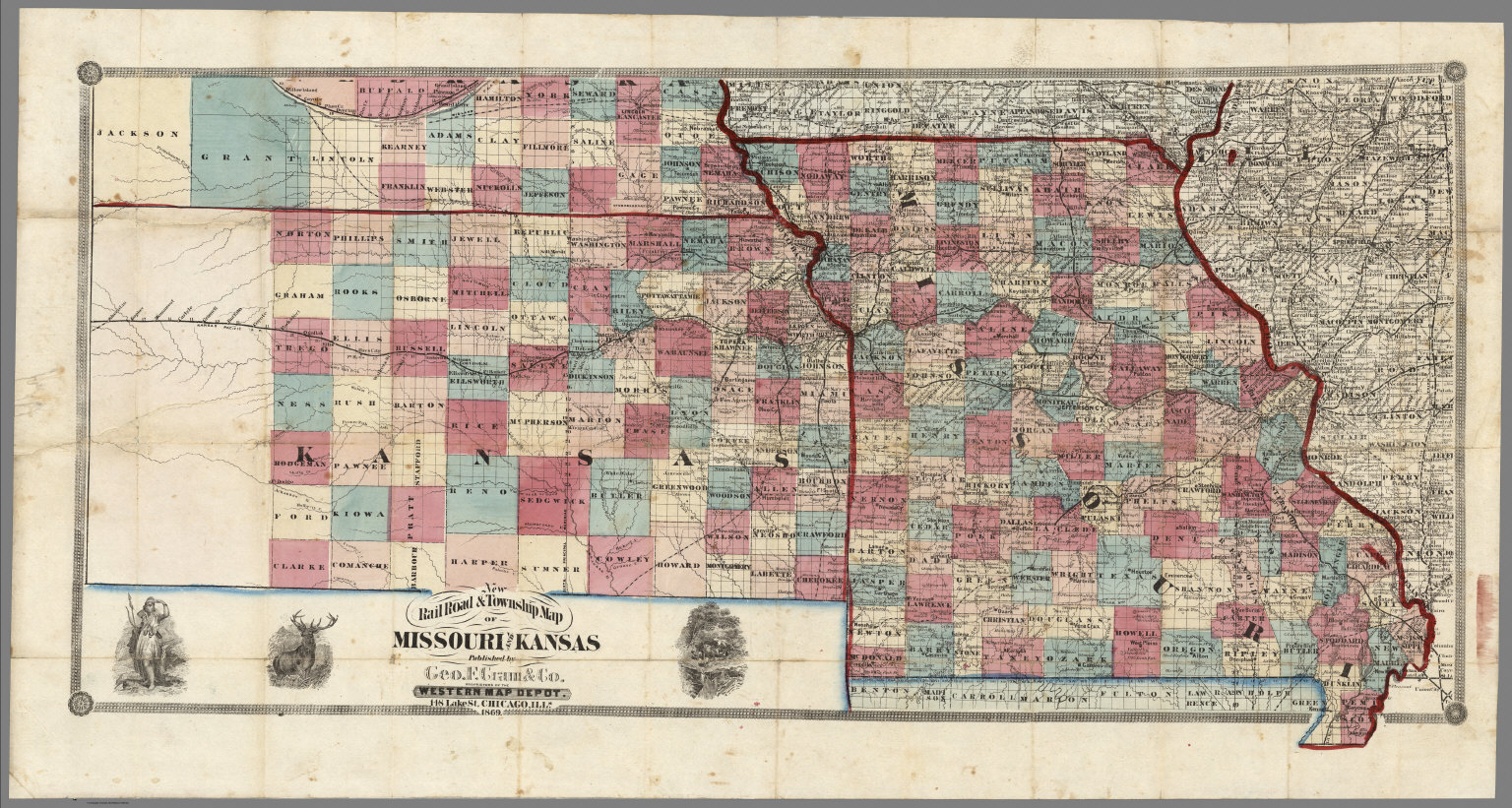 New Rail Road Township Map Of Missouri And Kansas David Rumsey - Road map of missouri