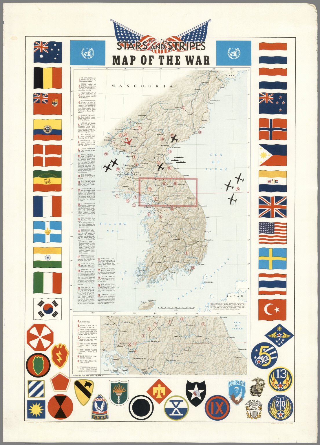 Pacific Stars and Stripes Map of the Korean War Military Insignia Features Print