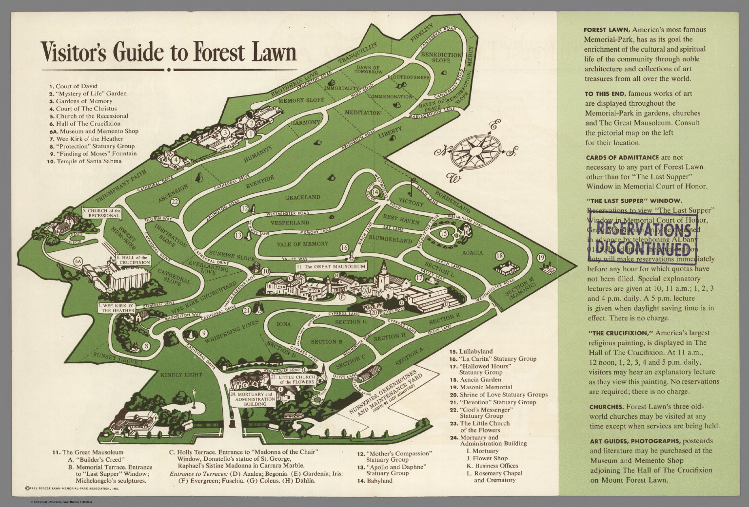 Pictorial Map and Visitors Guide to Forest Lawn MemorialPark