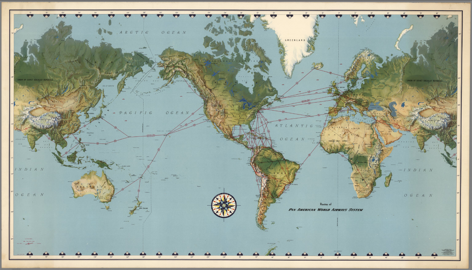 routes of pan american world airways system