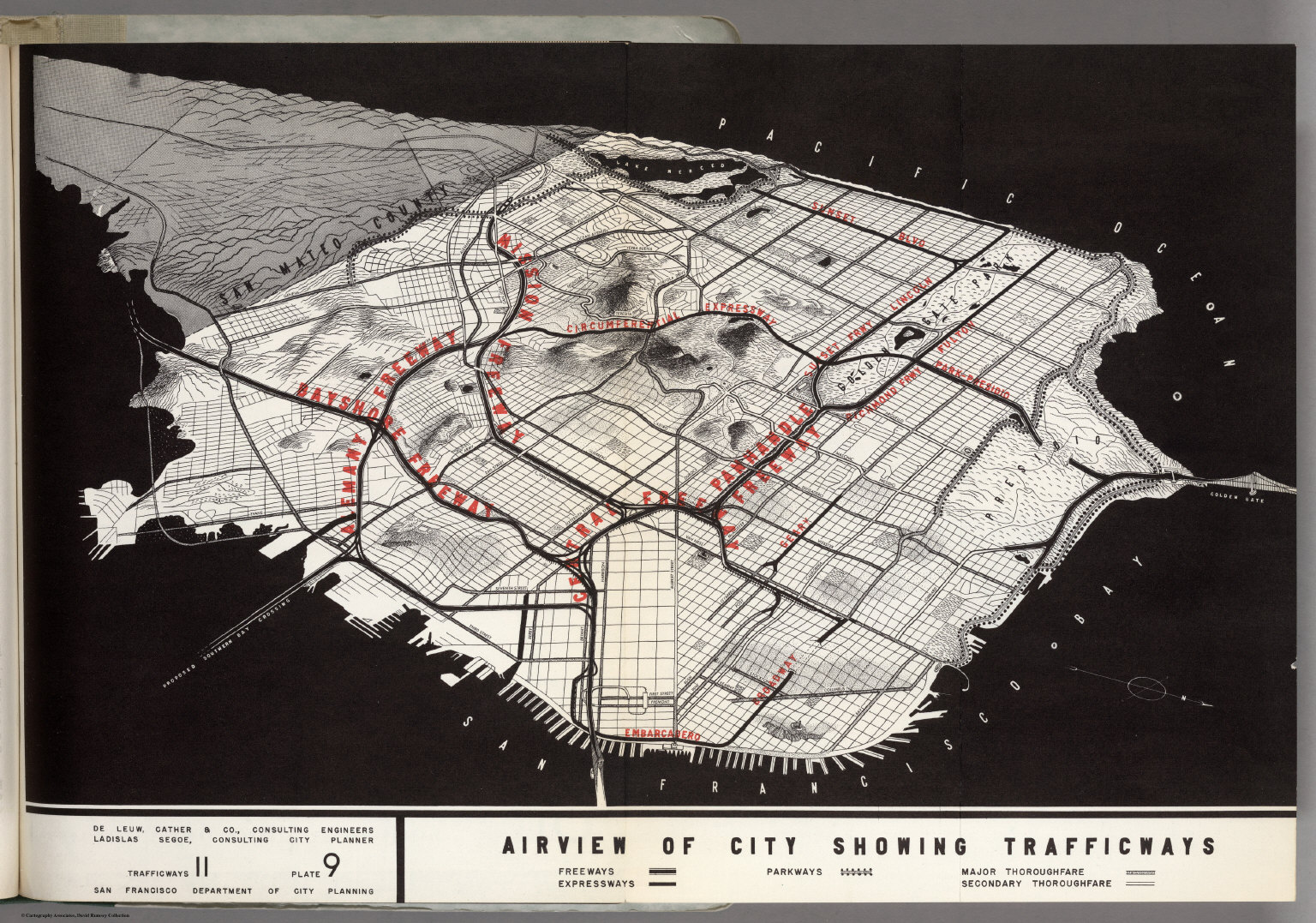 (San Francisco) Airview of city showing trafficways. Trafficways 11 Plate 9