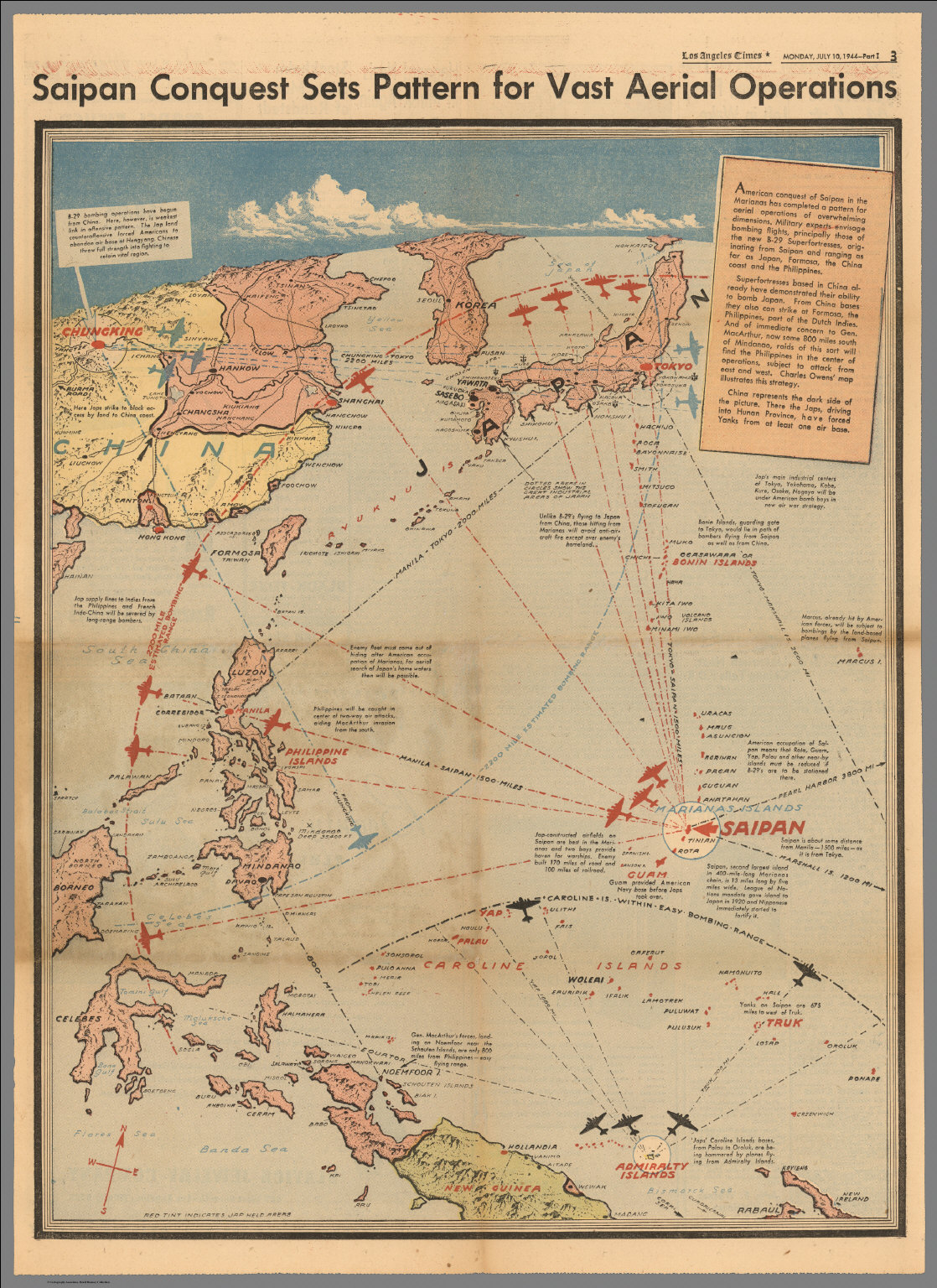 Saipan conquest sets pattern for vast aerial operations