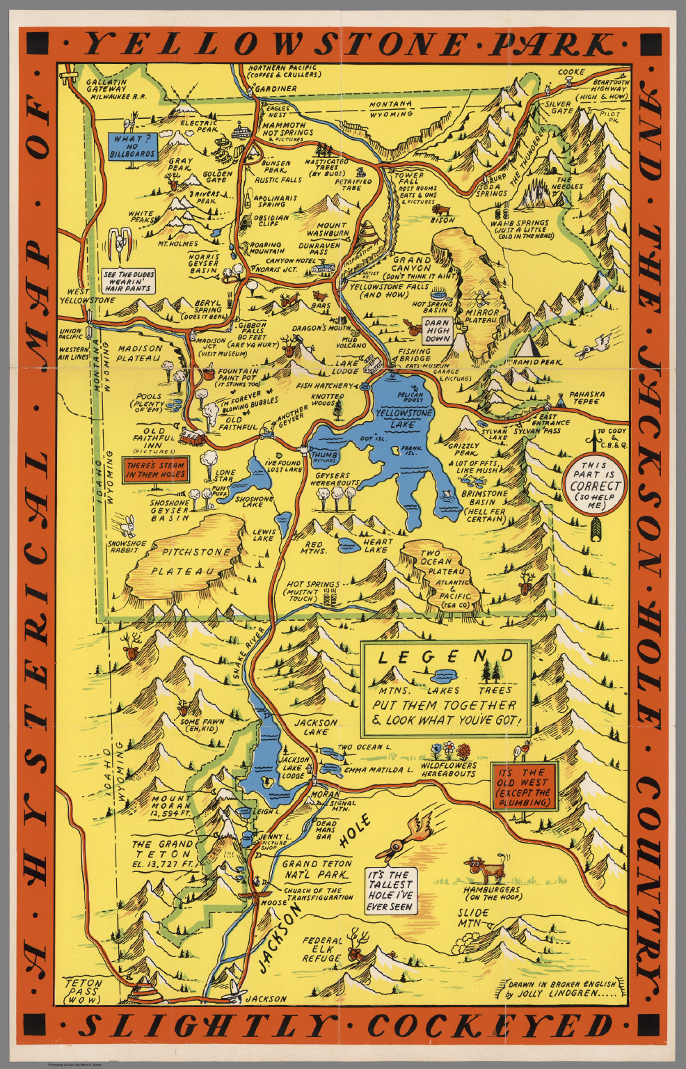 A Hysterical Map Of The Yellowstone Park And The Jackson ...