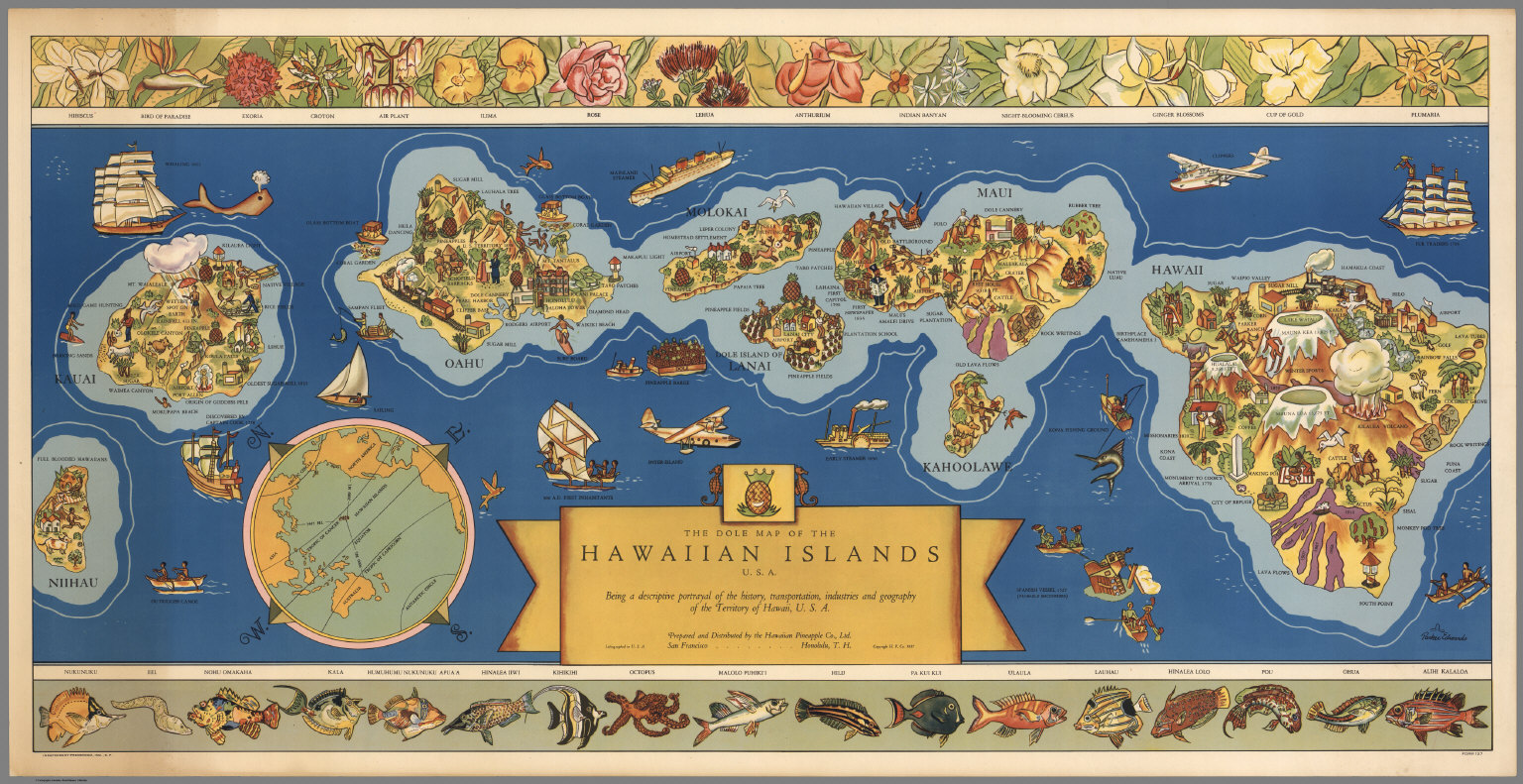 dole map of the hawaiian islands usa
