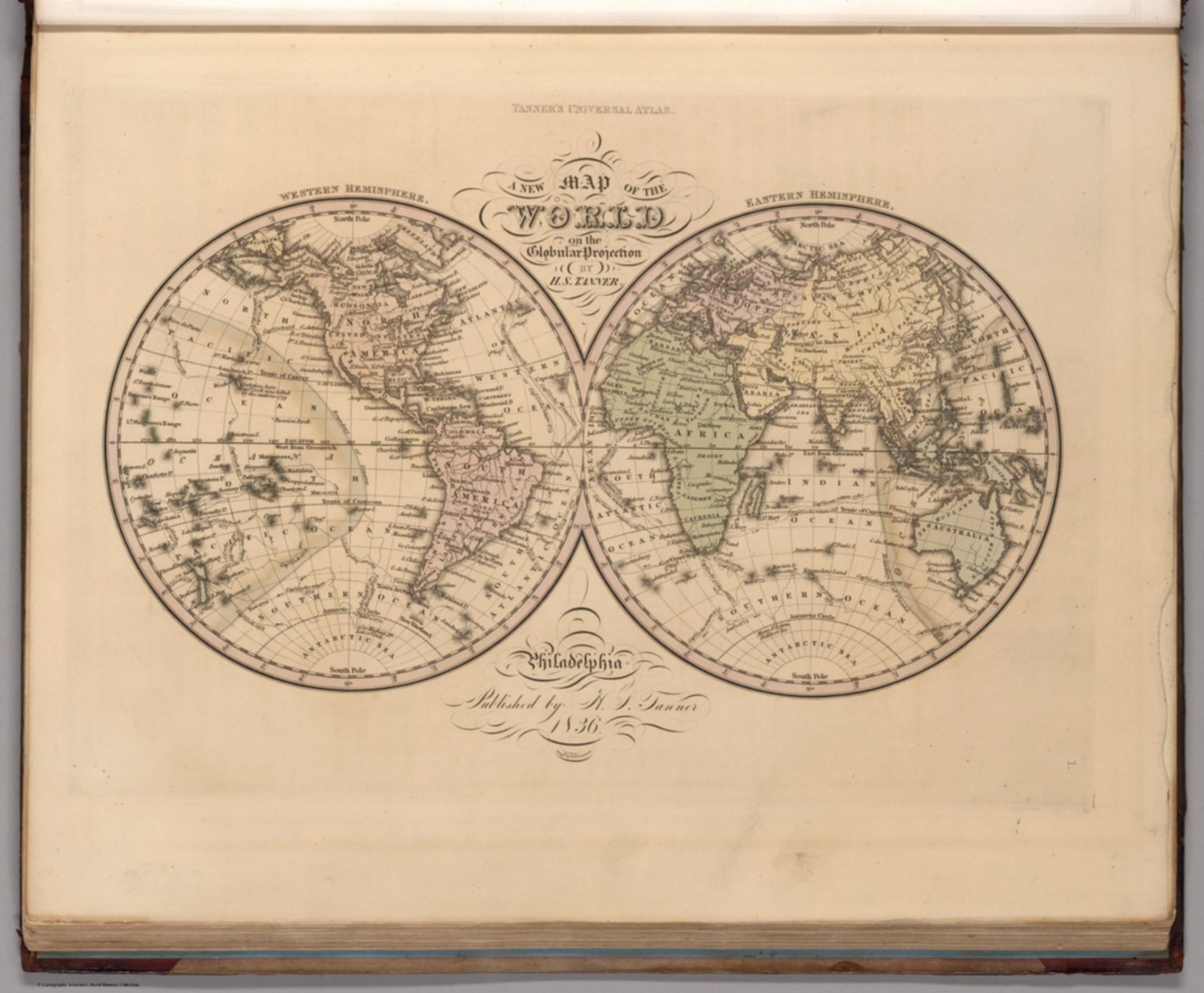 Map Of The World On The Globular Projection David Rumsey - Us Map Globular Projection
