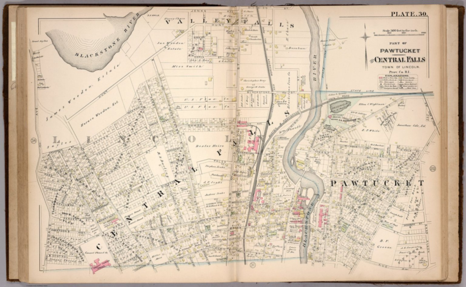 Plate 30 Part of Pawtucket and Central Falls Town of Lincoln Prov