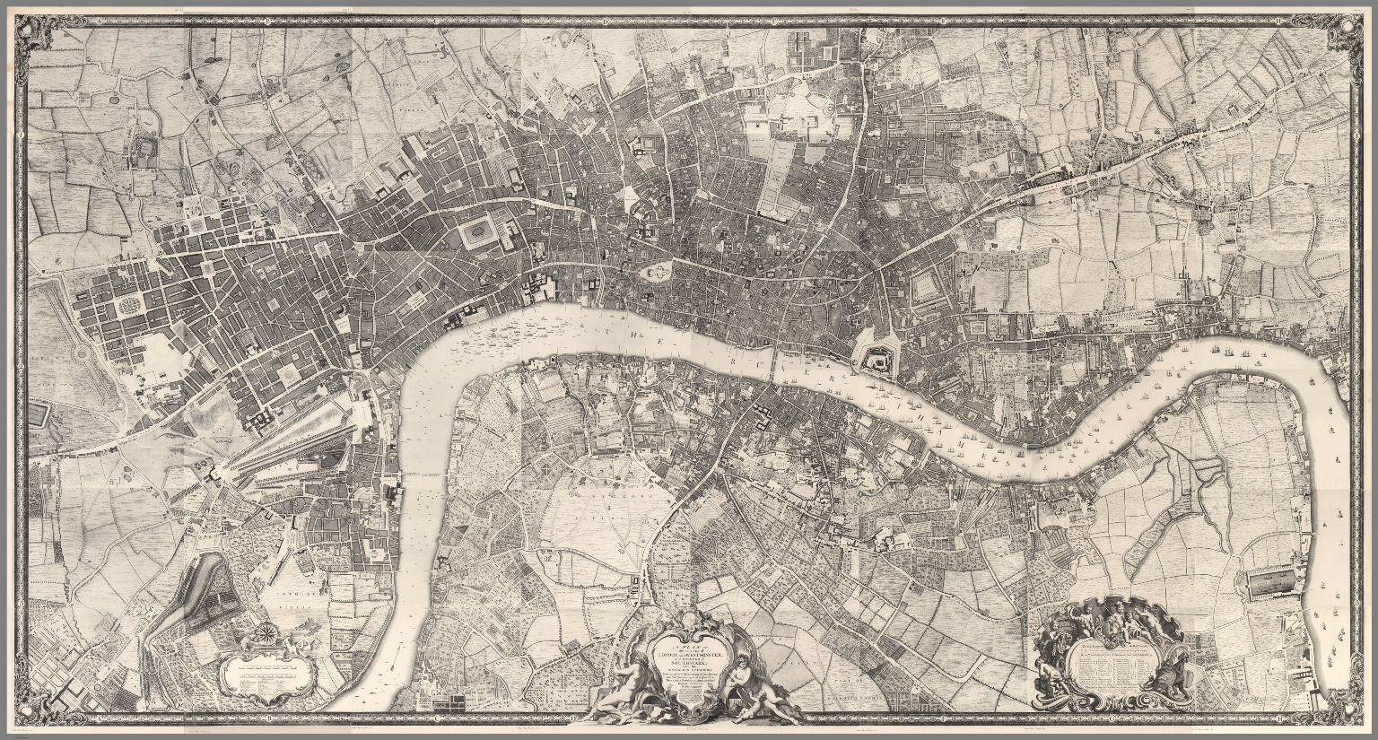 Composite Map: (Facsimile) Rocque's Map of London. 1746.