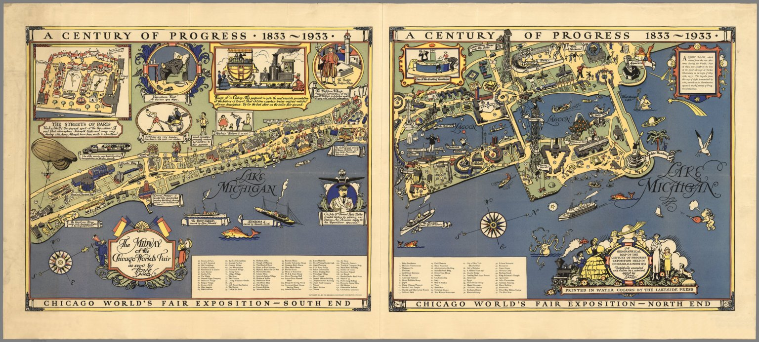 Image of: A Century Of Progress 1833 1933 Chicago World S Fair Exposition David Rumsey Historical Map Collection