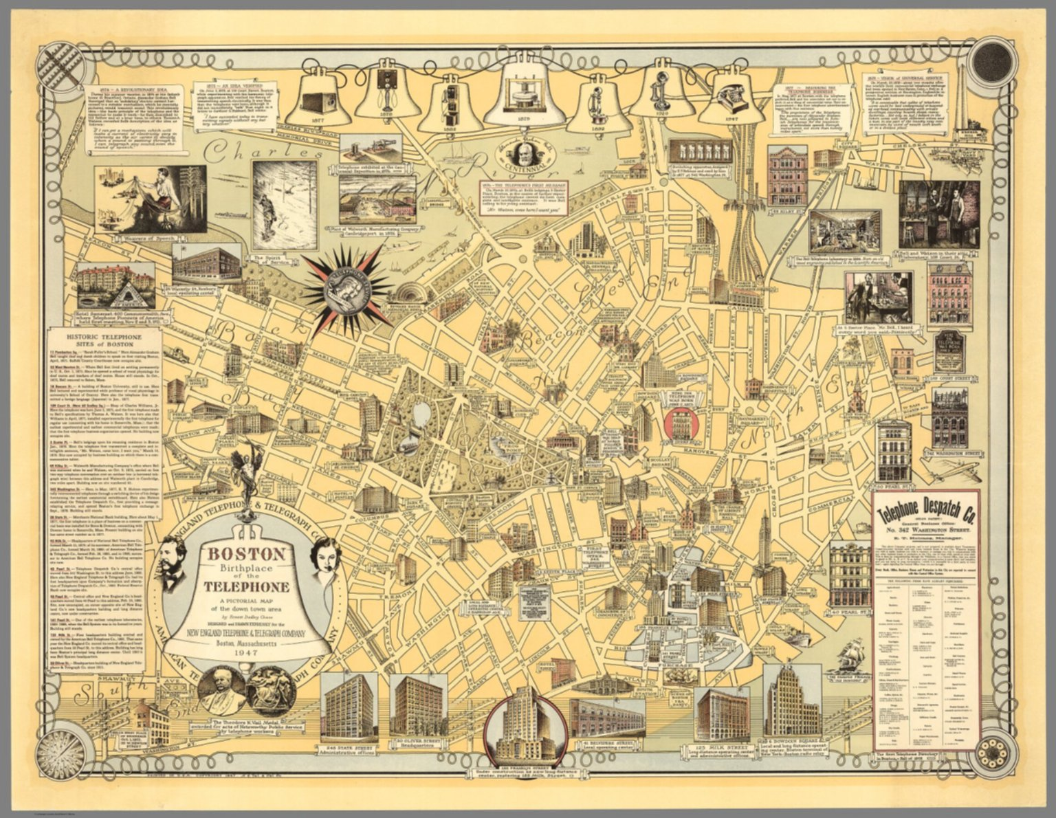 Boston Map Historical Sites.Boston Birthplace Of The Telephone A Pictorial Map Of The Down