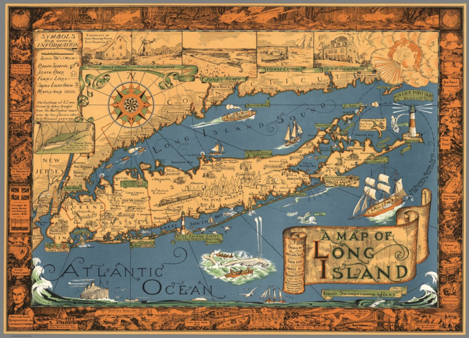 Map Of New York And Long Island.A Map Of Long Island Drawn By Courtland Smith From Data Compiled By
