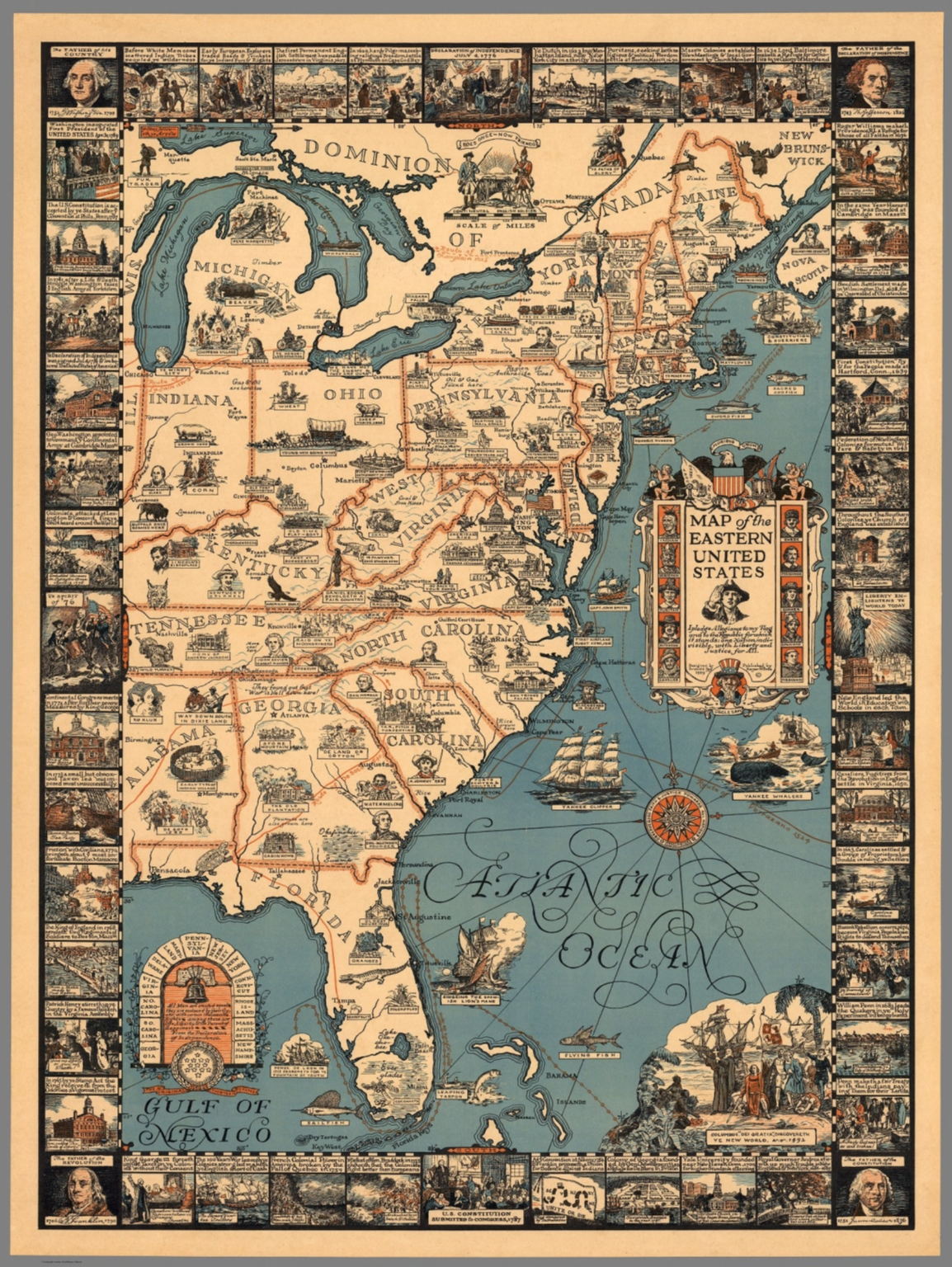 Map of the Eastern United States.