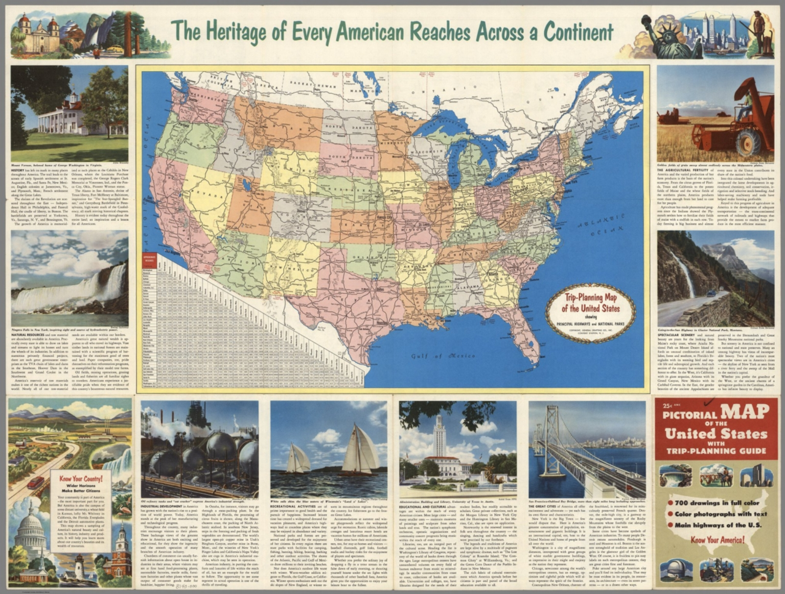 text page map trip planning map of the united stats showing principal highways and n