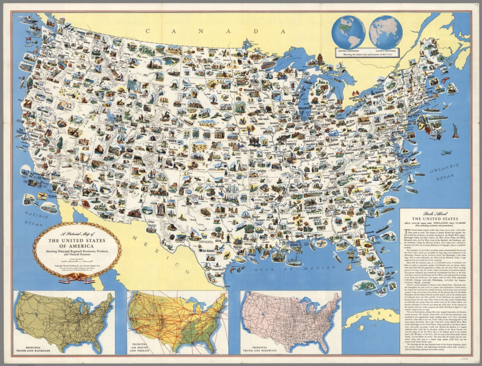 Map Of America Usa.Pictorial Map Of The United States Of America David Rumsey