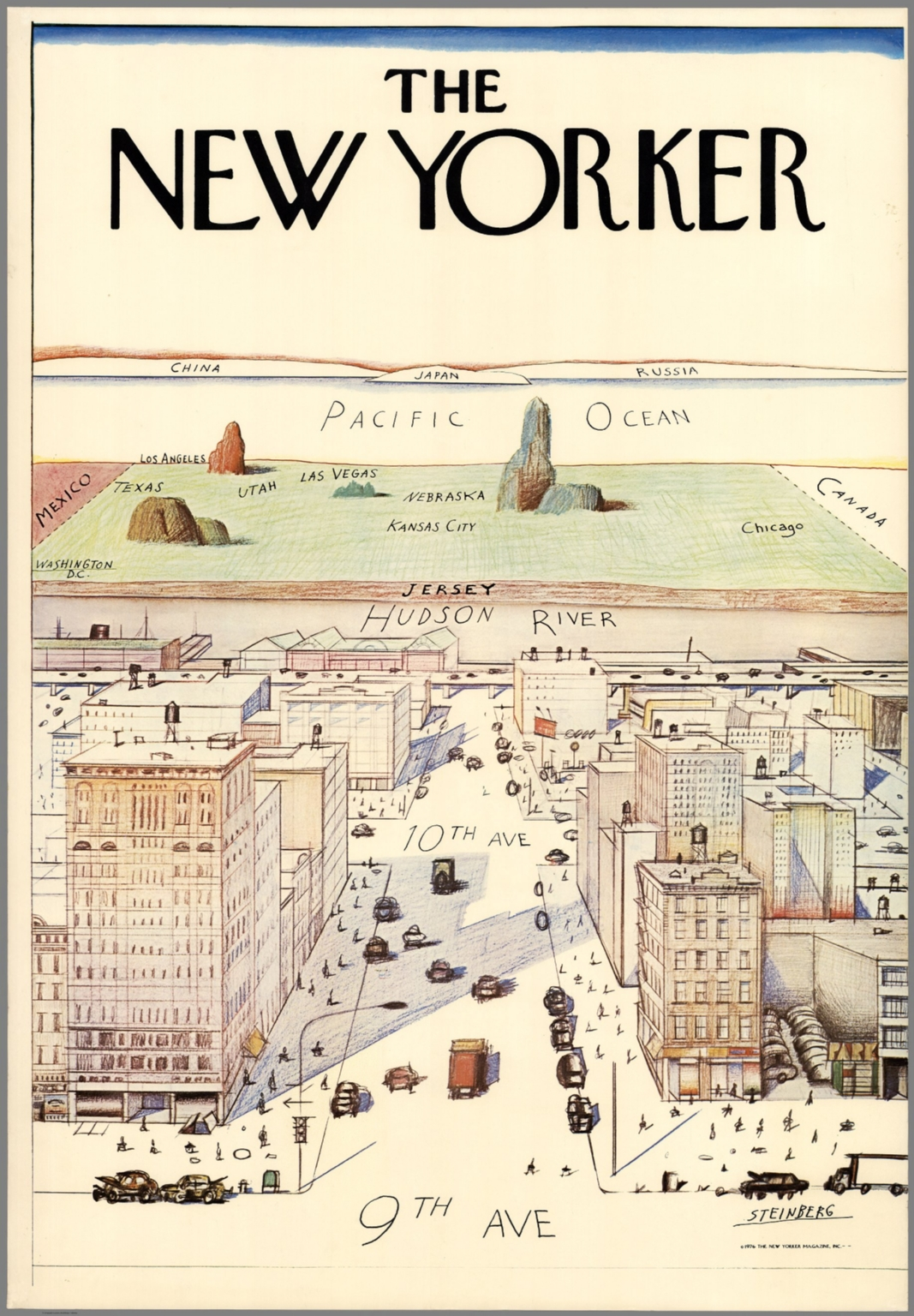 New Yorkers Map Of The World.The New Yorker Steinberg 1976 The New Yorker Magazine Inc