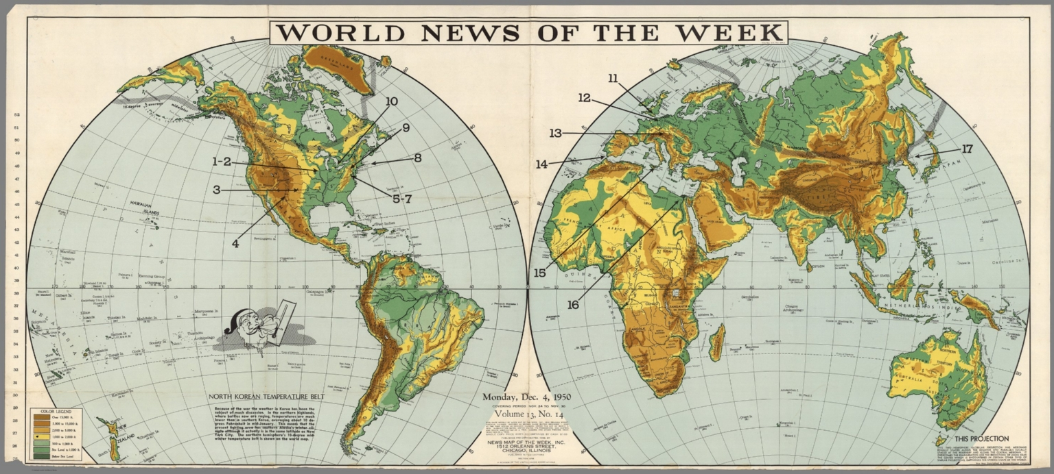 World News Of The Week Monday Dec David Rumsey - Blank world map 1950