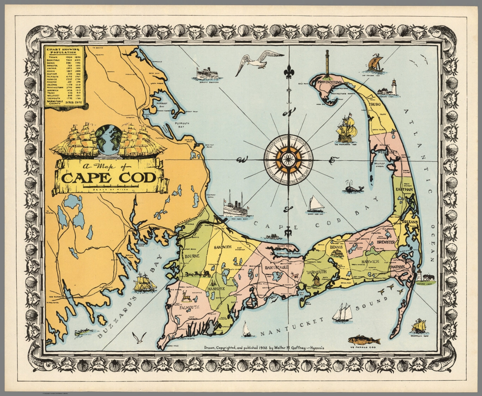 A map of Cape Cod. Drawn, copyrighted, and published 1932 by Walter ...