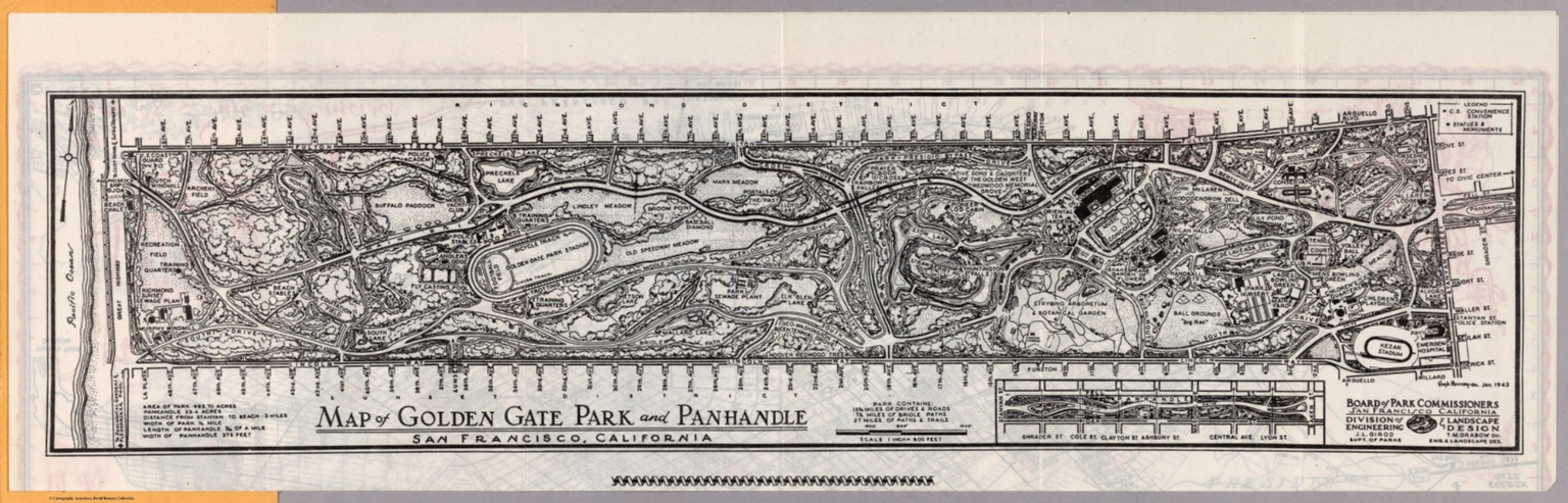 Map of Golden Gate Park and Panhandle San Francisco California