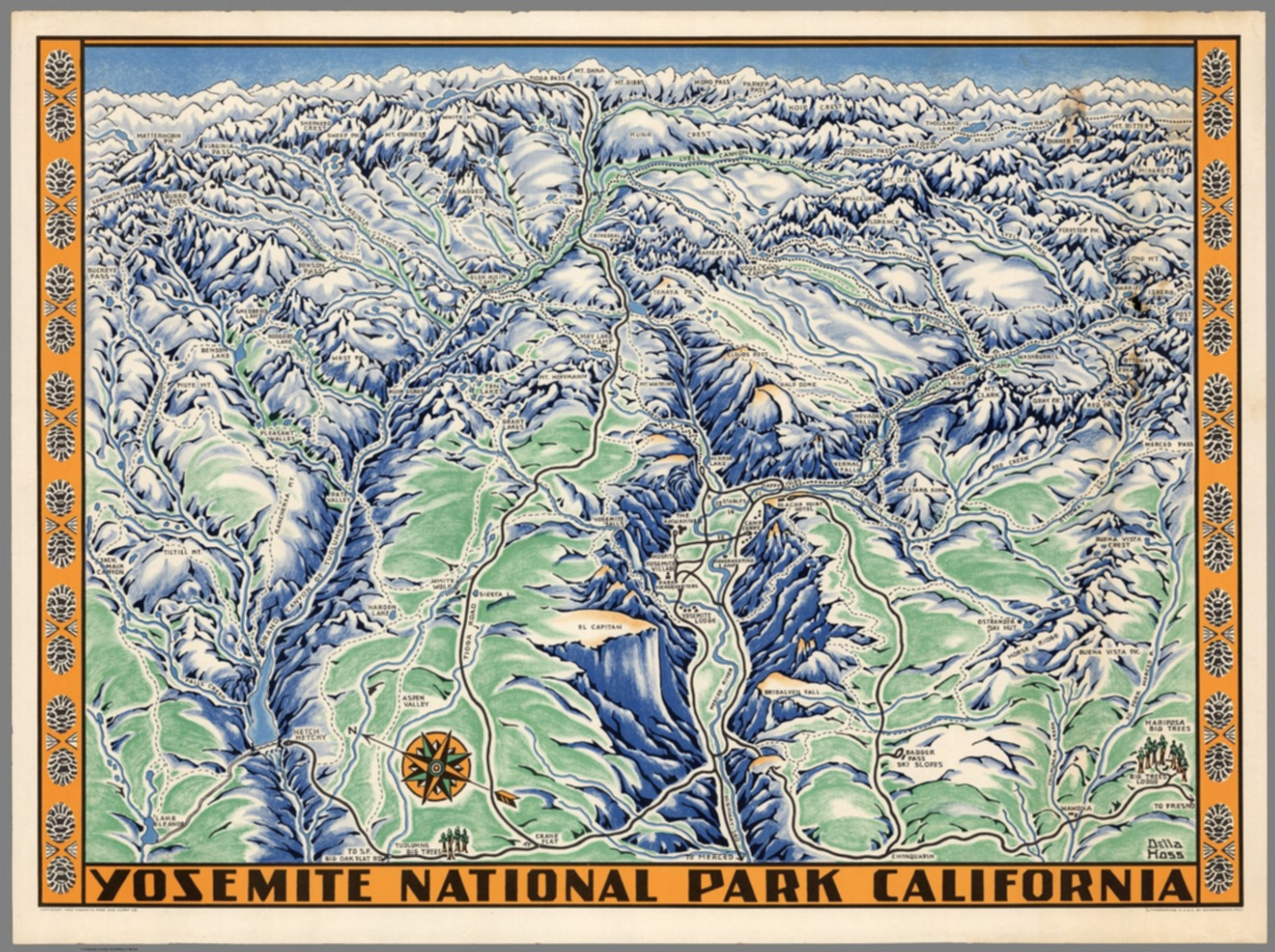 Yosemite National Park California. Della Hoss - David Rumsey ... on red bluff attractions, san diego attractions, kings canyon national park attractions, san francisco attractions, utah attractions, north dakota attractions, sequoia national forest attractions, palm springs attractions, new jersey attractions, monterey attractions, seattle attractions, mexico city attractions, carlsbad attractions, california attractions, death valley attractions, new mexico attractions, bay of fundy attractions, newport beach attractions, hawaii attractions, niagara falls attractions,