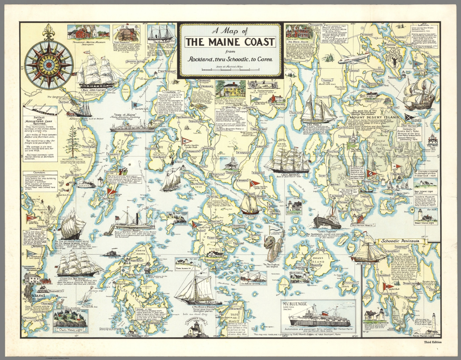 A Map of The Maine Coast from Rockland thru Schoodic to Corea