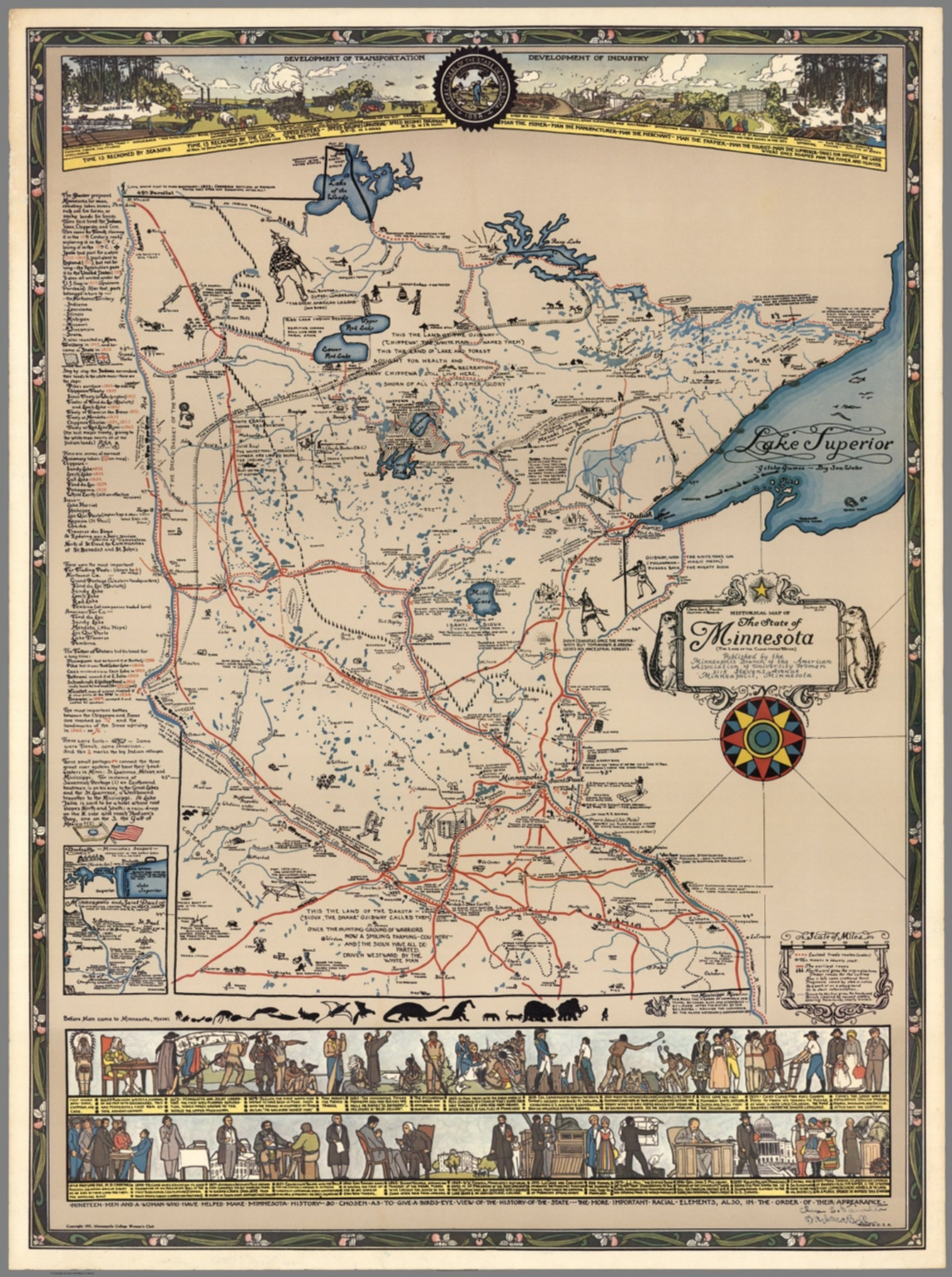 Historical Map Of The State Of Minnesota The Land Of The