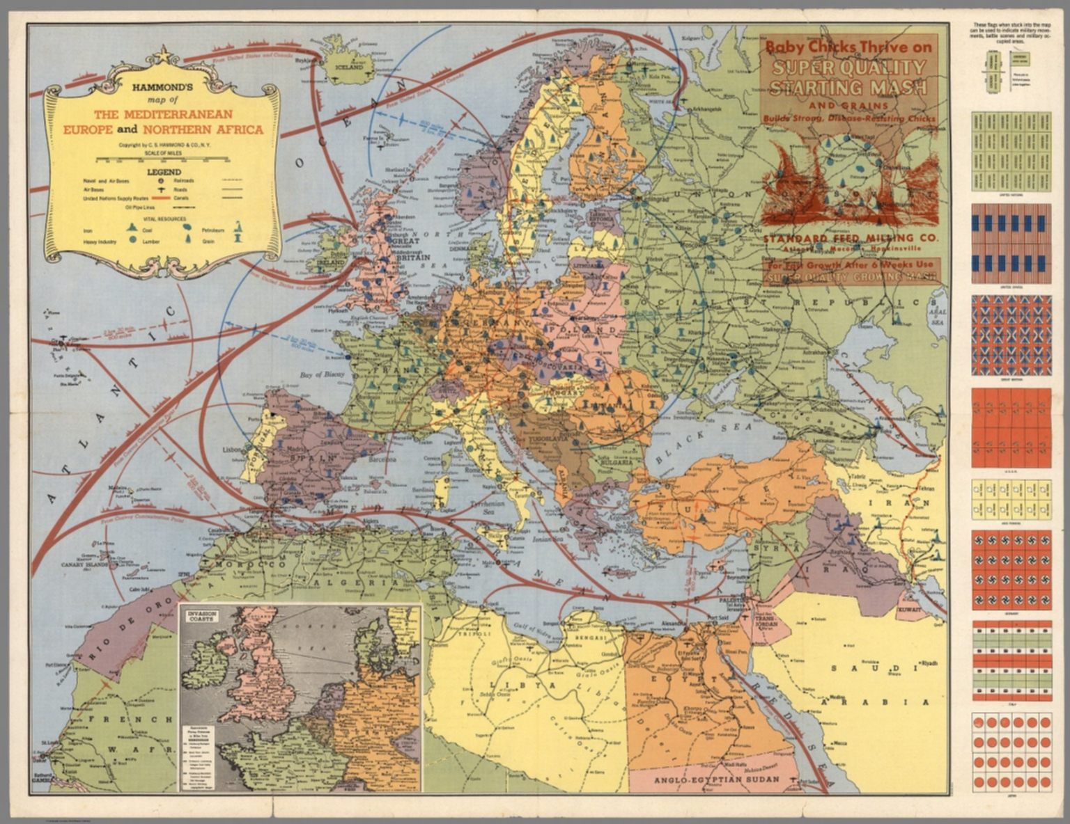 Hammond\'s Map of The Mediterranean, Europe and Northern Africa ...