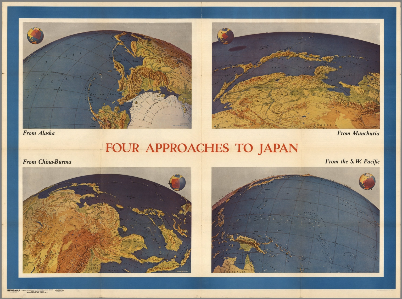 Four approaches to japan from alaska china burma manchuria sw four approaches to japan from alaska china burma manchuria sw pacific newsmap mond gumiabroncs Images