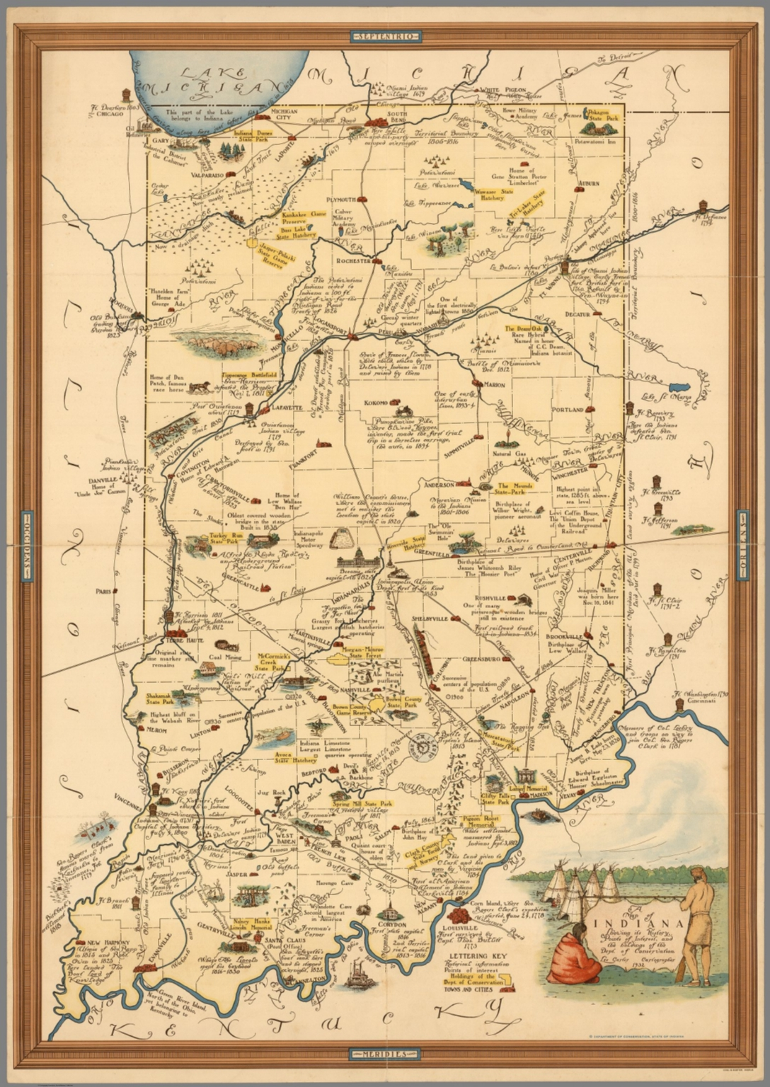 A Map of Indiana Showing its History, Points of Interest, and the ...