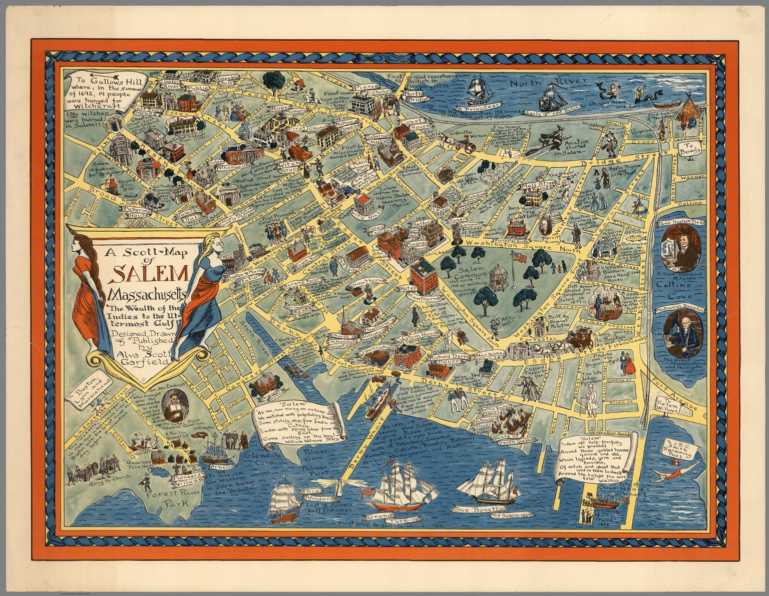 Map Of Salem Ma A Scott Map of Salem Massachusetts.   David Rumsey Historical Map
