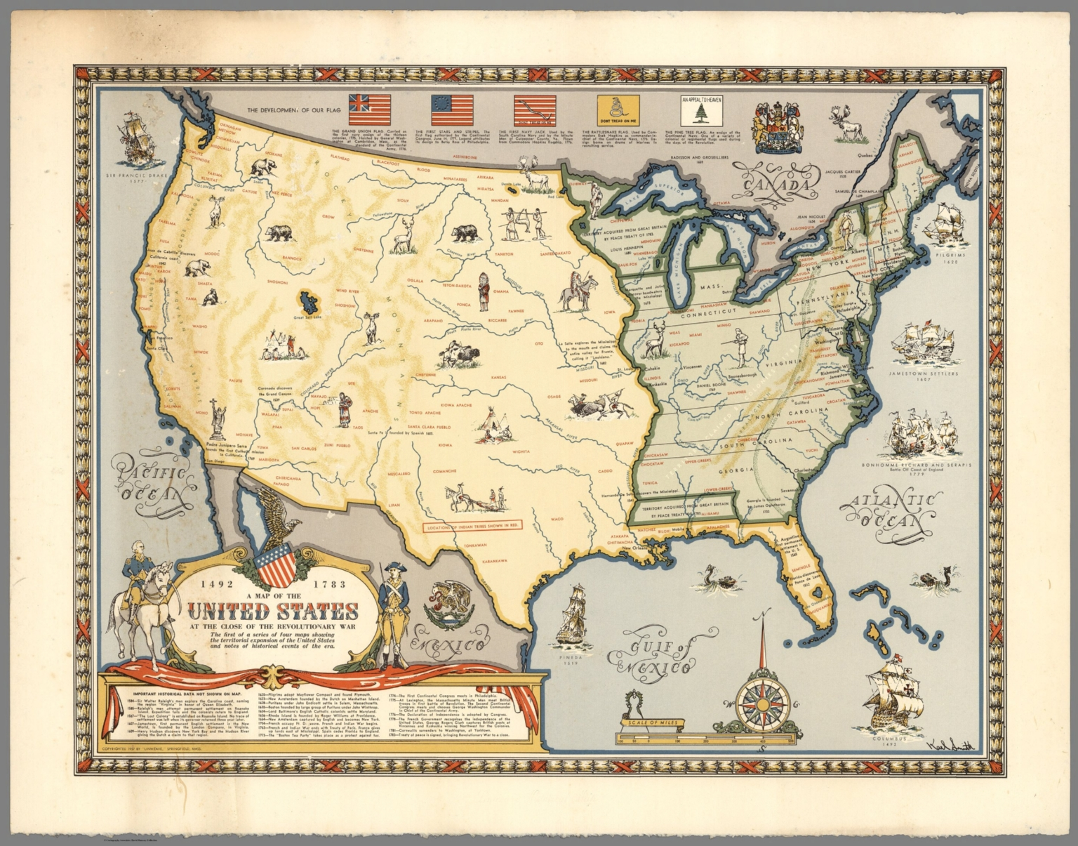 Map of the United States at the Close of the Revolutionary War, 1492 ...