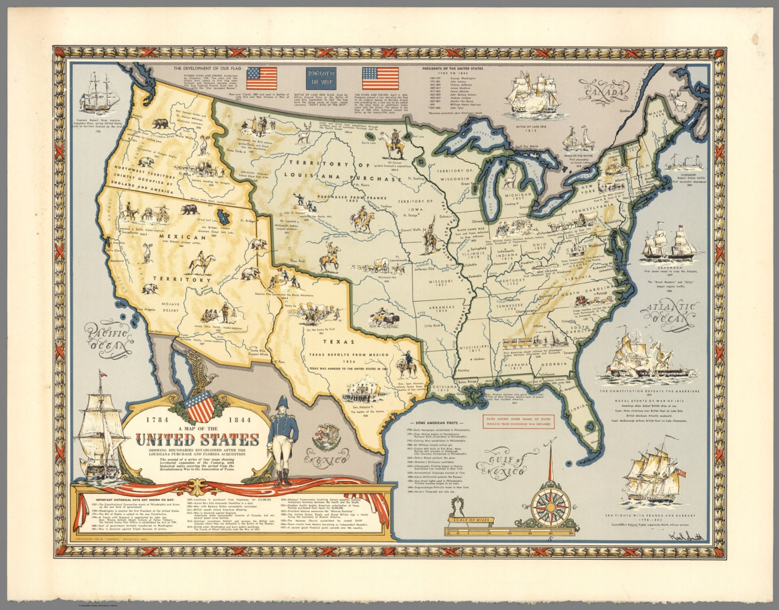 Map of the United States Showing Boundaries, 1784-1844. - David ...