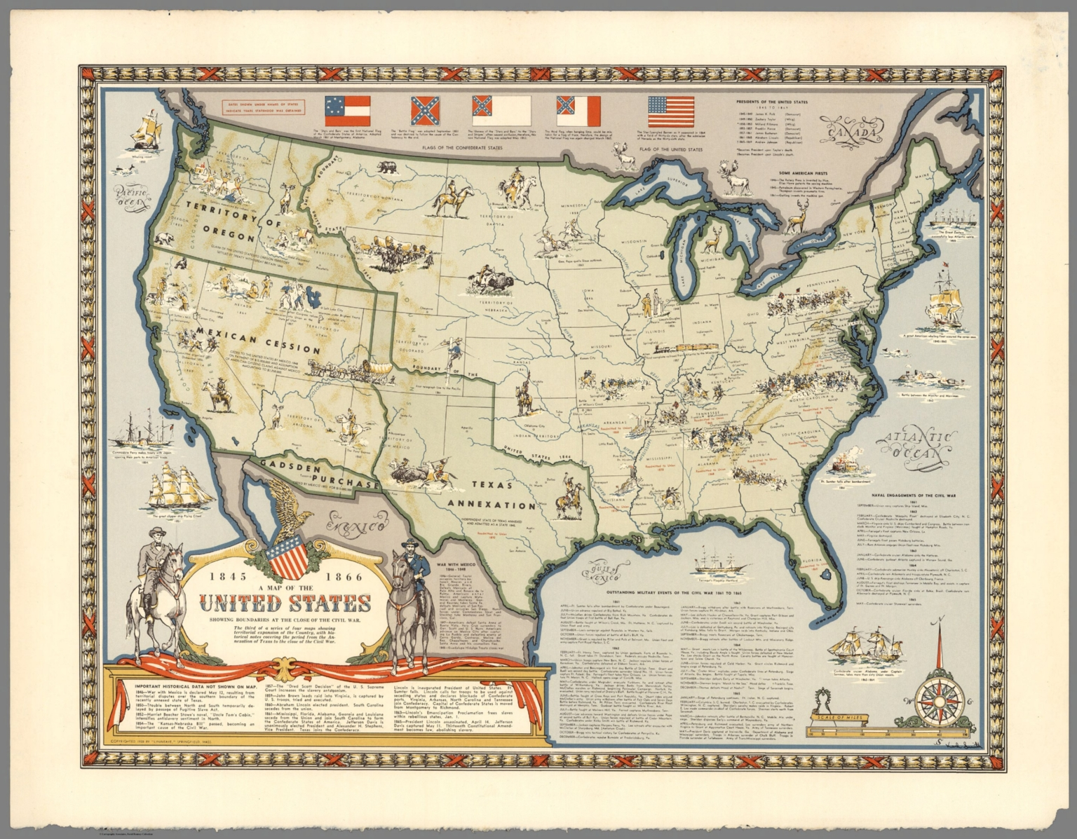 Map Of The United States Showing Boundaries 1845 1866 David - Us-map-1845