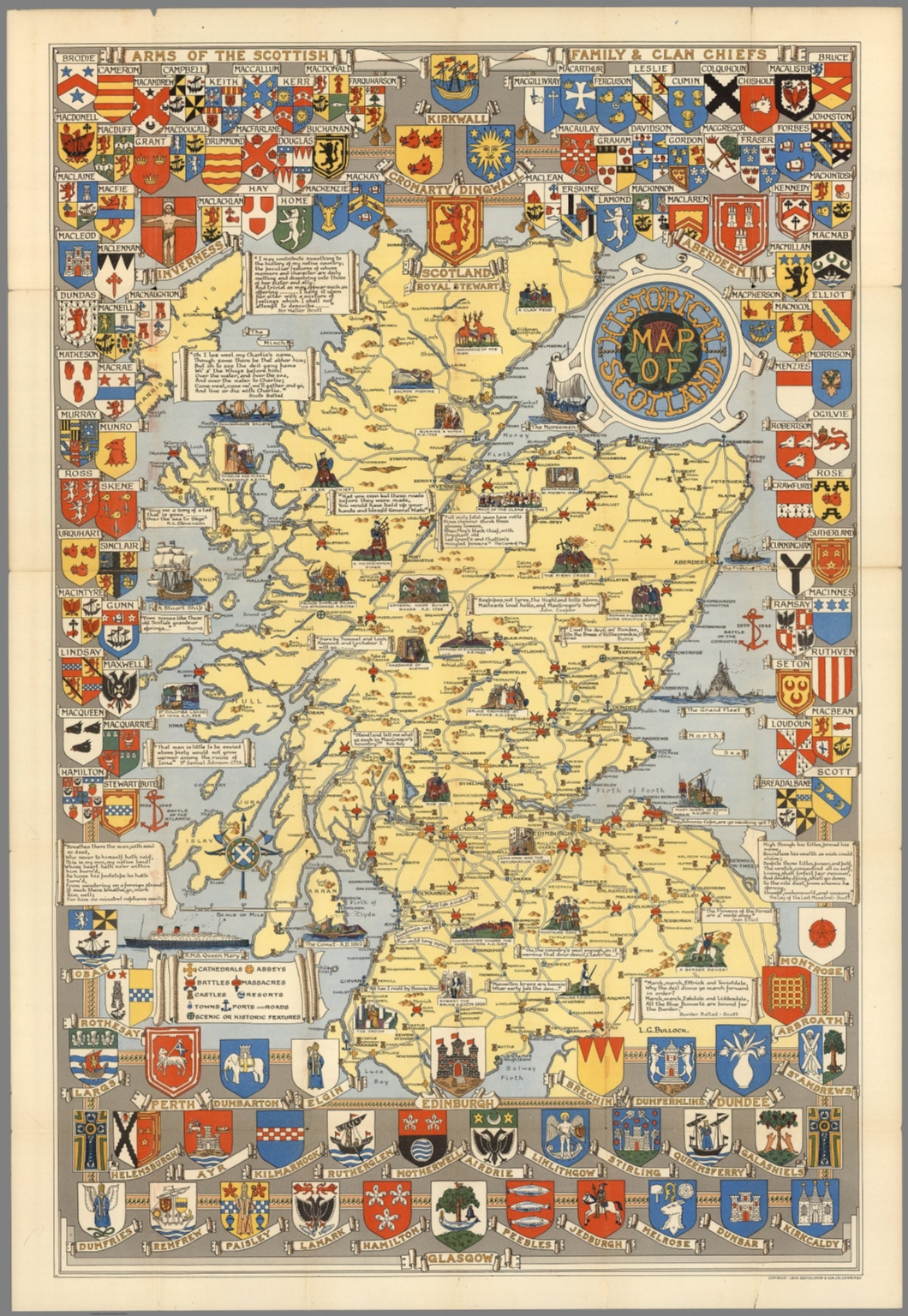 Historical Map of Scotland  By L G  Bullock  John Bartholomew & Son