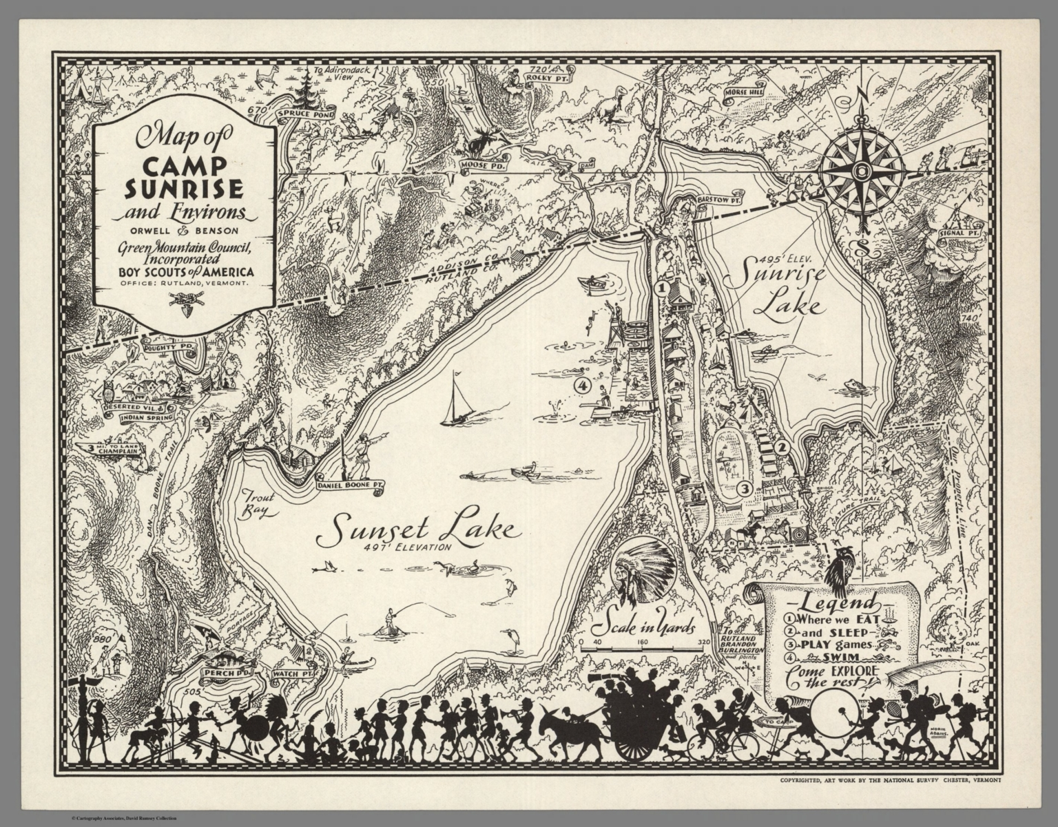 Map Of America Vermont.Map Of Camp Sunrise And Environs Vermont Boy Scouts Of America