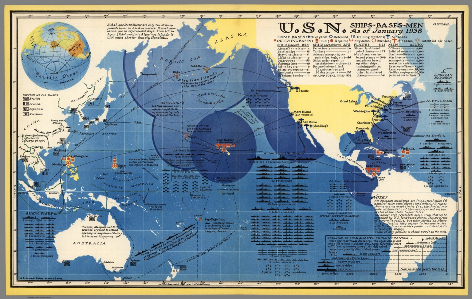 U.S. Navy Ships - Bases - Men As of January 1938. - David Rumsey ...