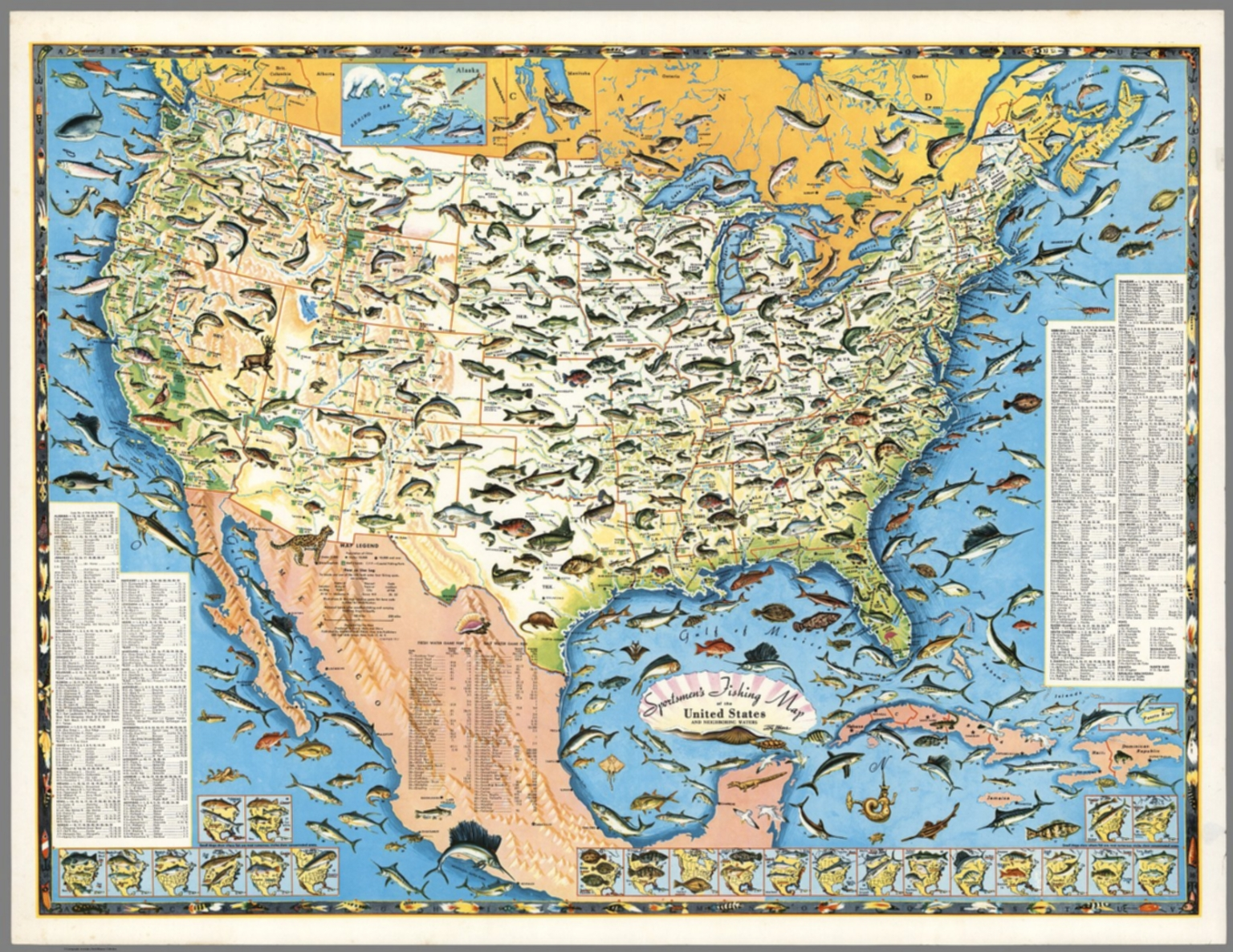 Sportsmen S Fishing Map Of The United States And Neighboring Waters