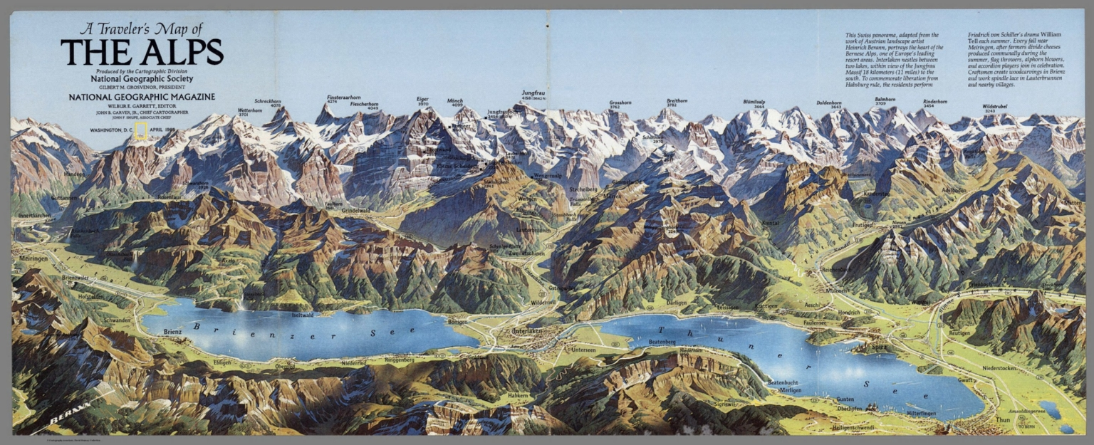 View: Traveler\'s Map of The Alps. ... National Geographic Society ...