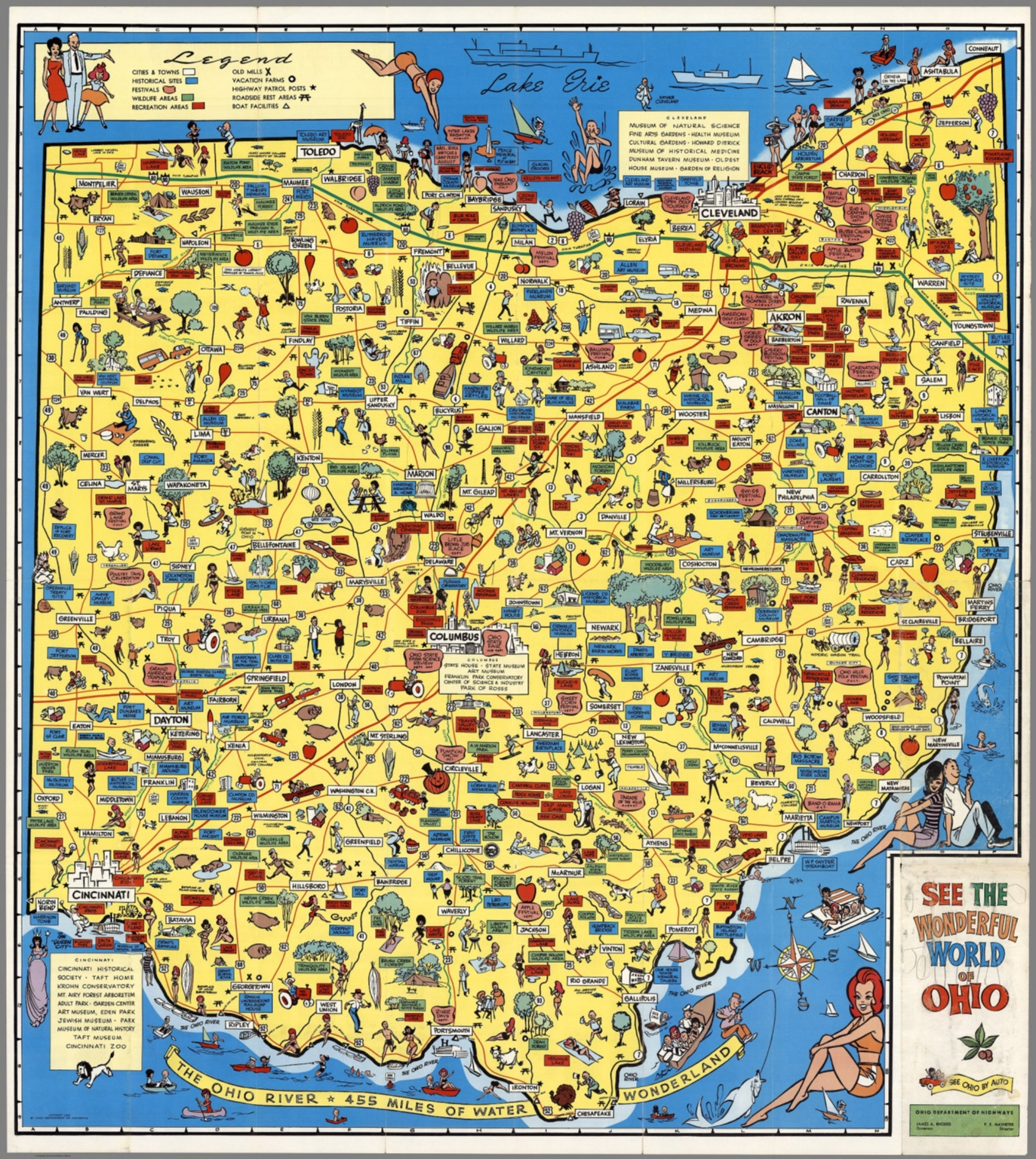 Map and cover see the wonderful world of ohio see ohio by auto map and cover see the wonderful world of ohio see ohio by auto ohio department of highw gumiabroncs Choice Image