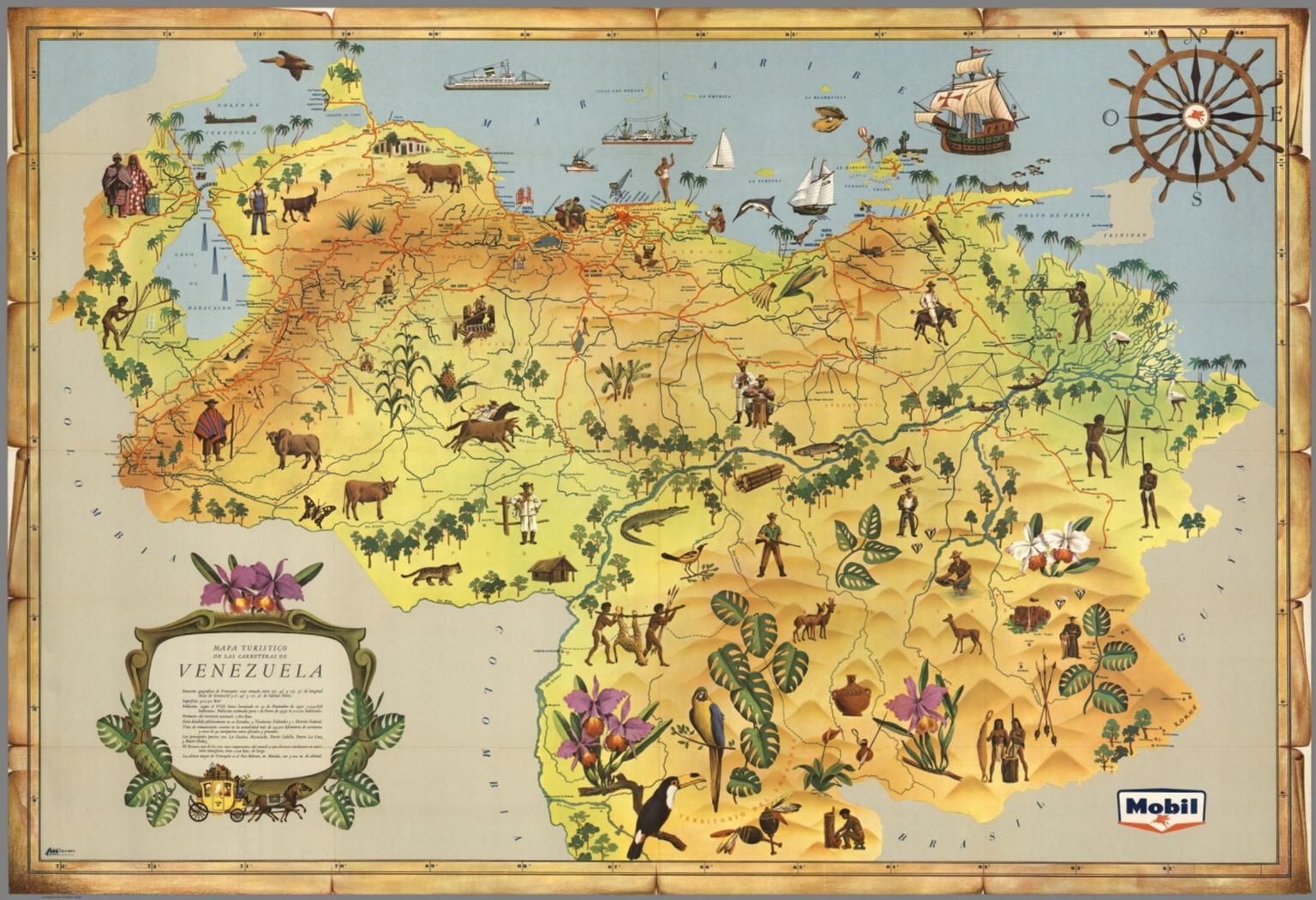 Tourist map of roads of venezuela david rumsey historical map tourist map of roads of venezuela sciox Images