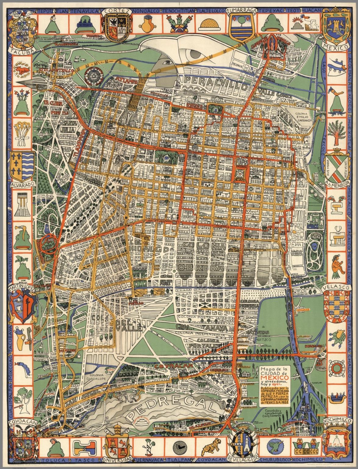 Mapa de la Ciudad de Mexico y alrededores, hoy y ayer.