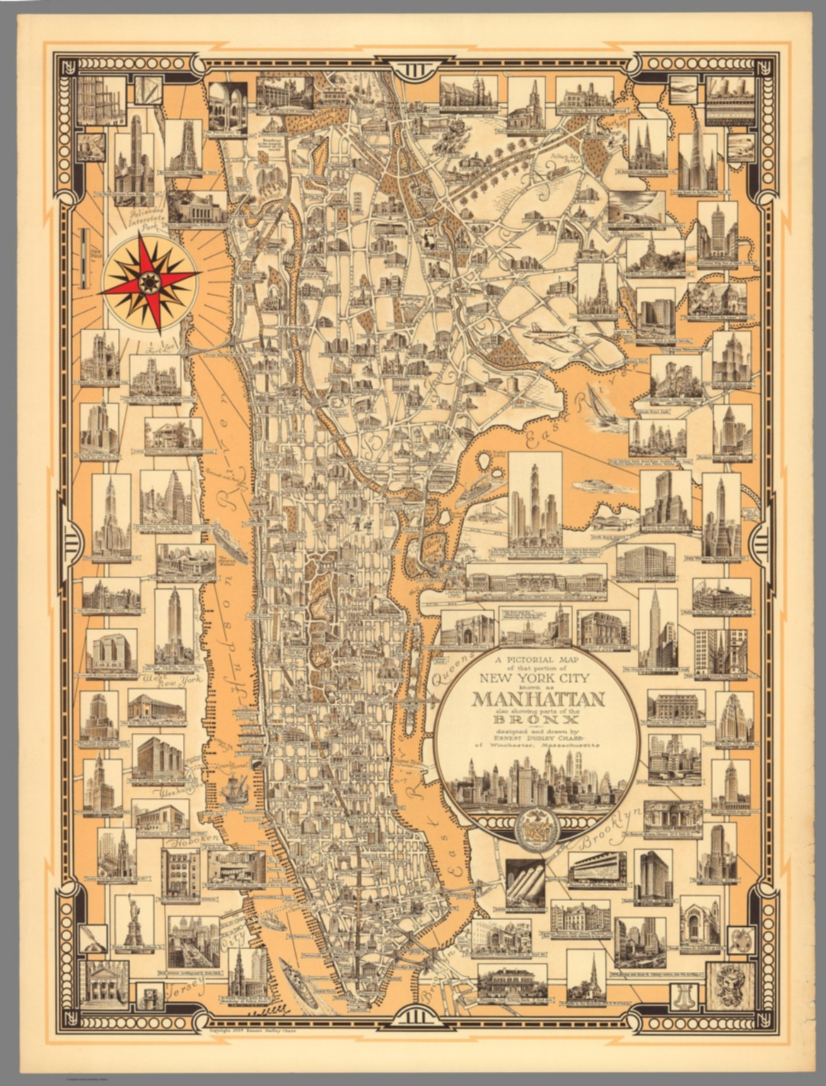 a pictorial map of that portion of new york city known as manhattan